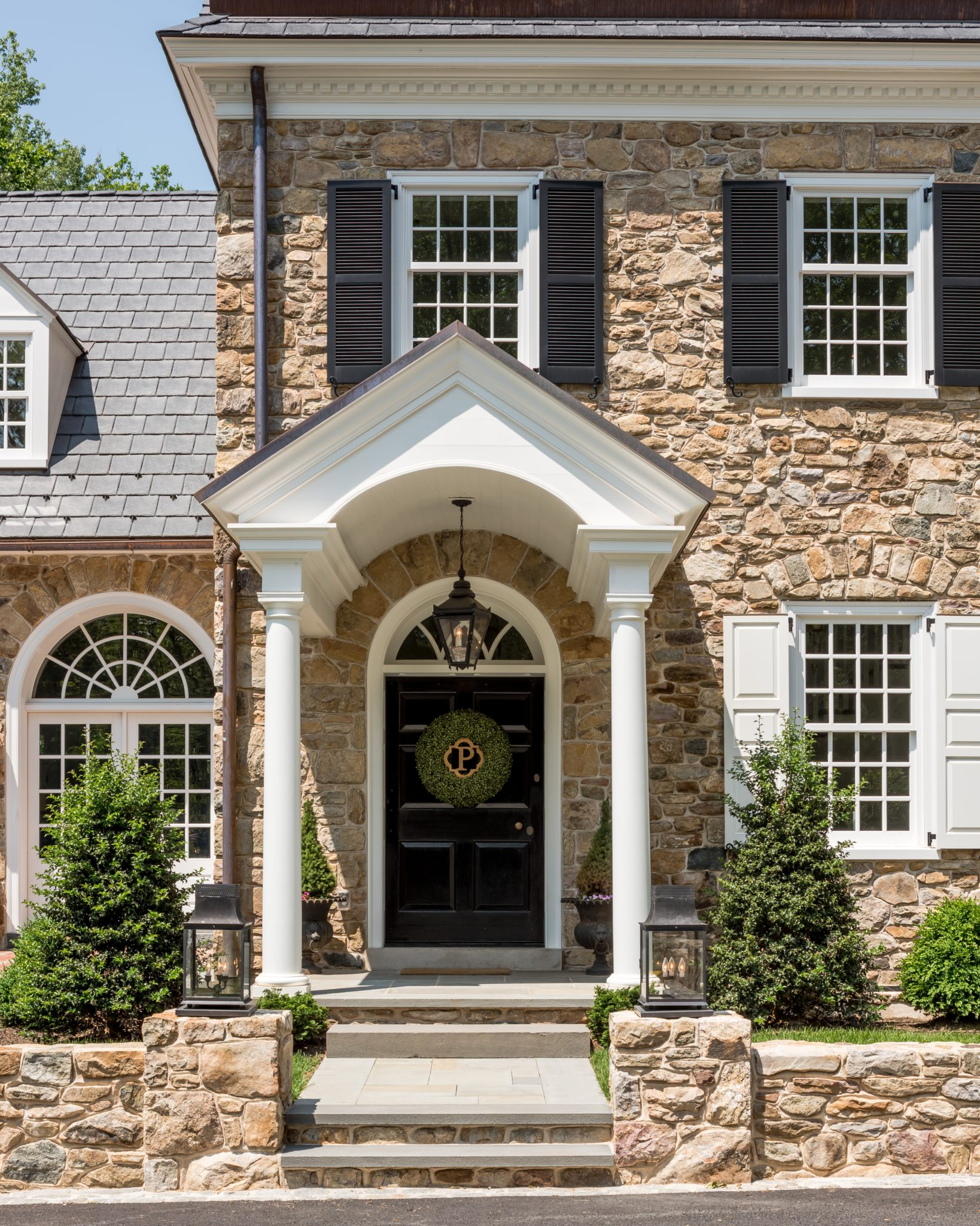 Colonial Revival Pennsylvania Farmhouse with Traditional Portico by Period Architecture