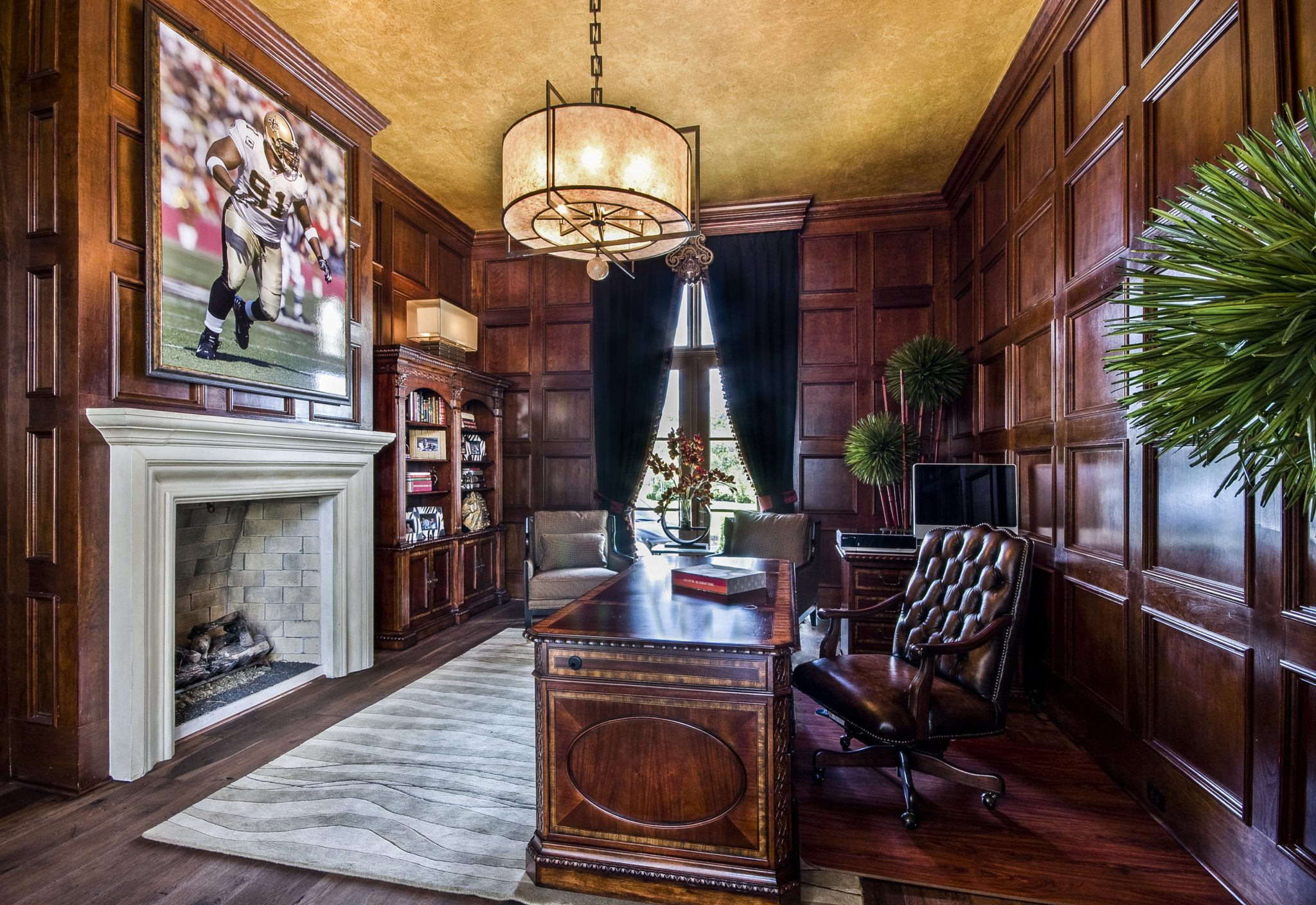 Residence, Elegant Home Office with Classic Furnishings & Mahogany Paneled Walls by Posh Exclusive Interiors