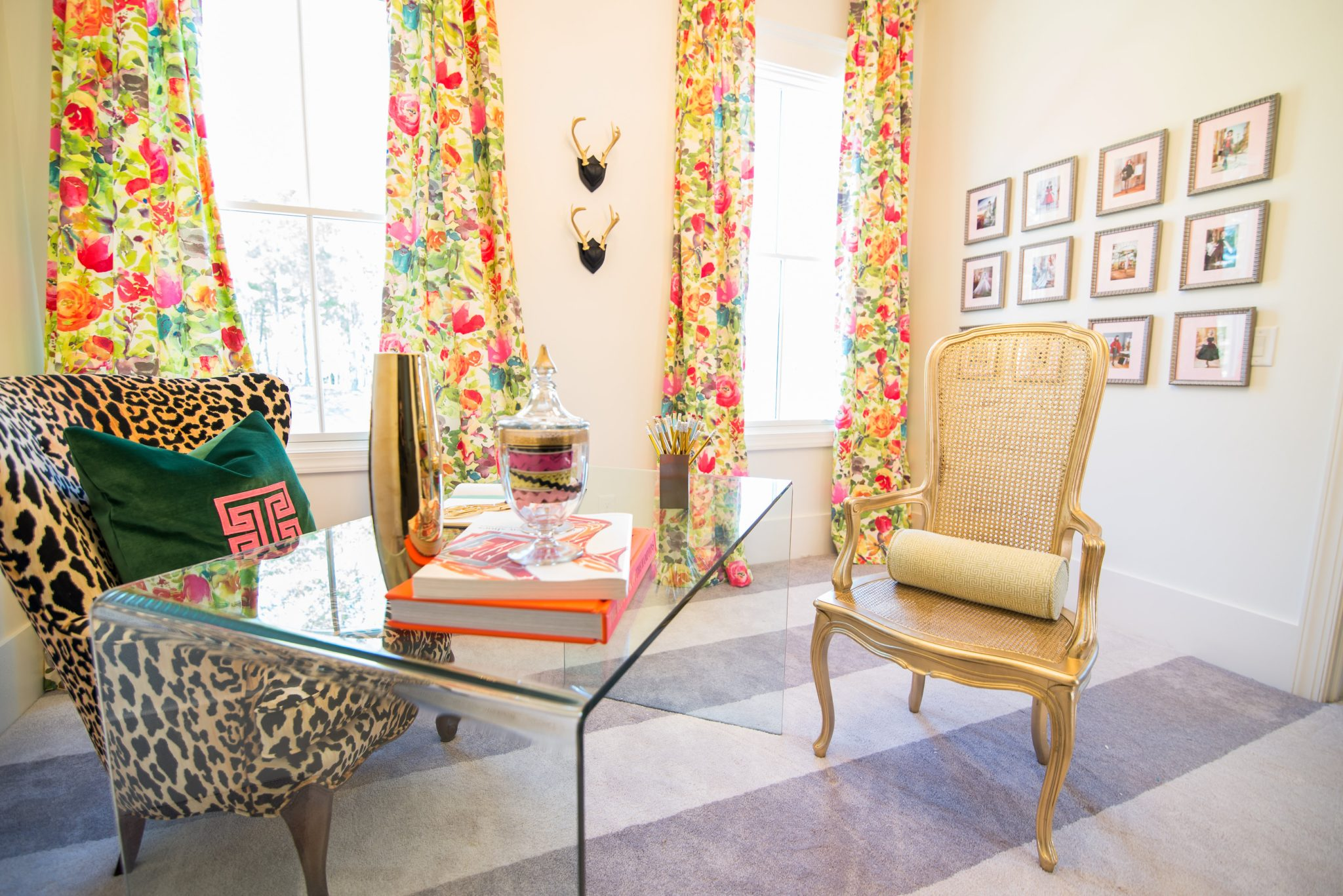 Colorful, eclectic office byElle + Vreeland Design House