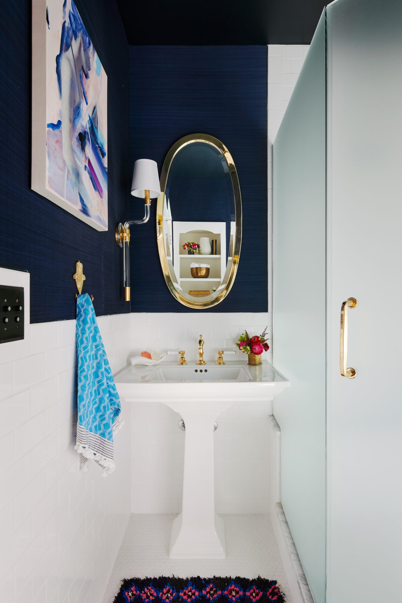 Back hall and bath by Centered by Design & Relativity Textiles