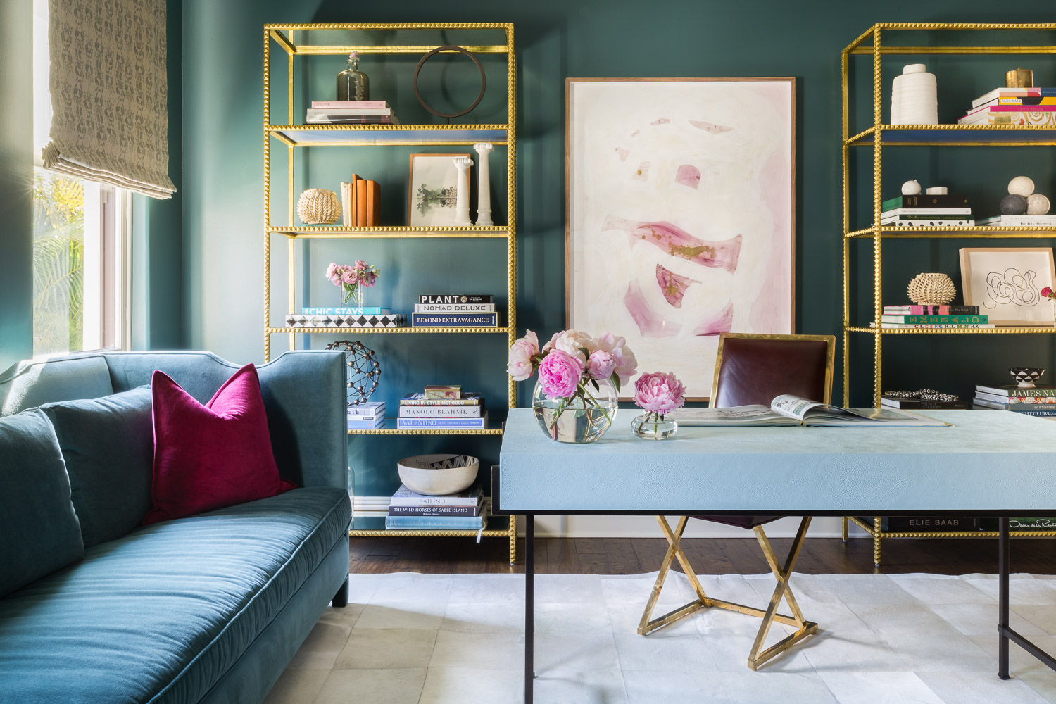Florida jewel tone Office with gold shelves by Courier Design Studio