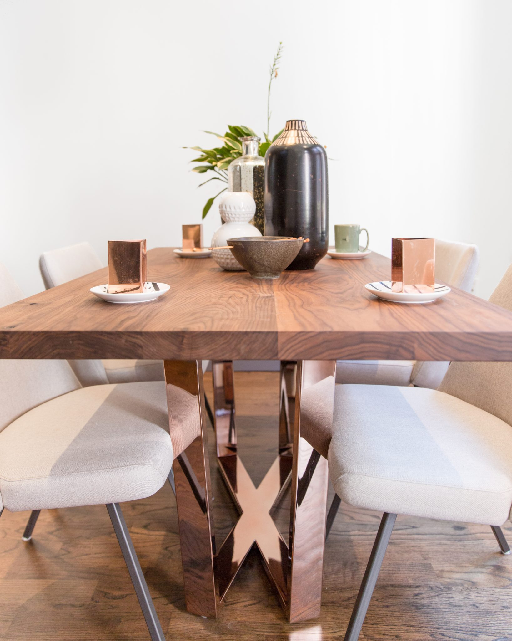 Custom dining table detail by designs by human.