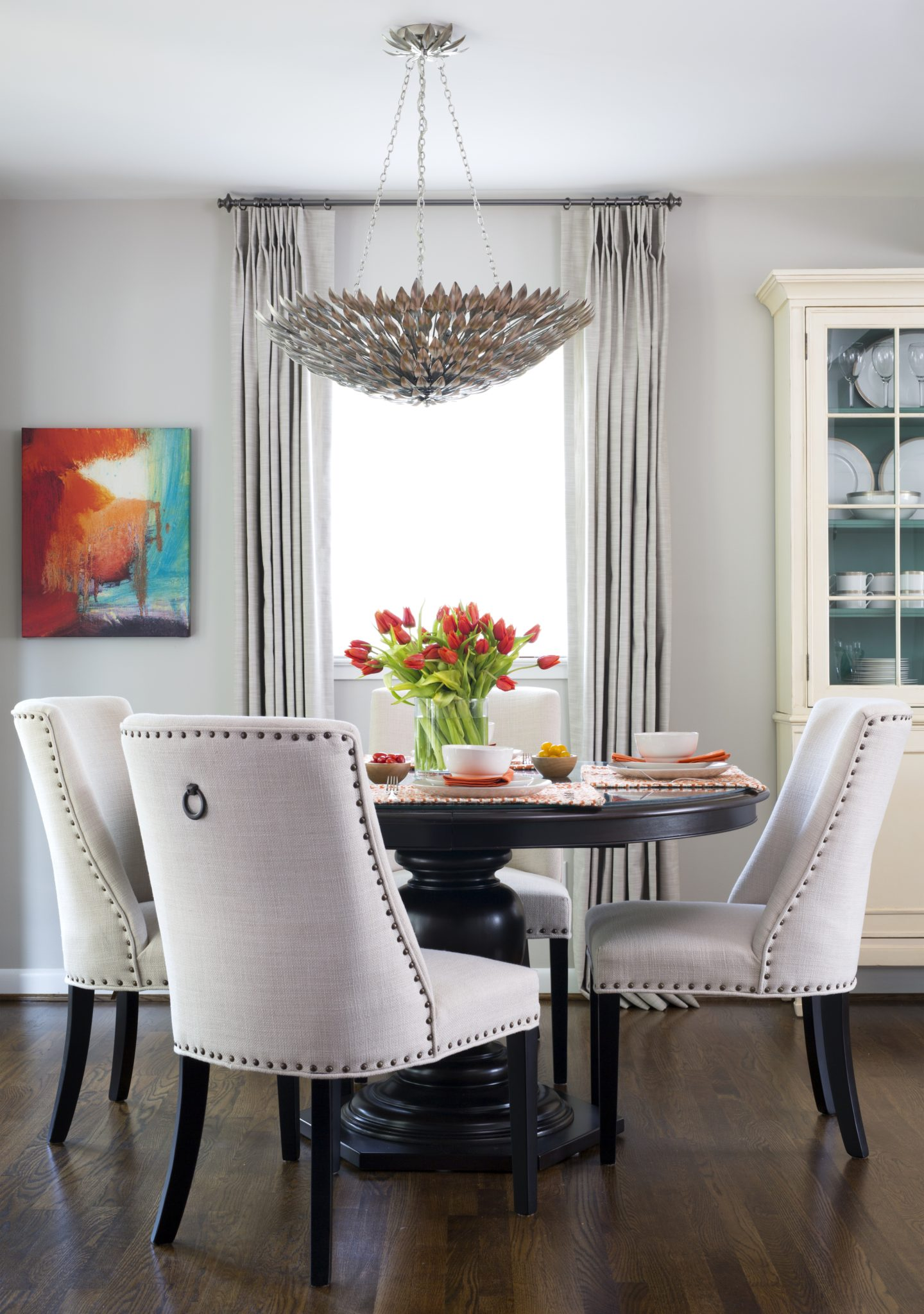 Dining room area that can seat up to six by Liza Jane Interiors