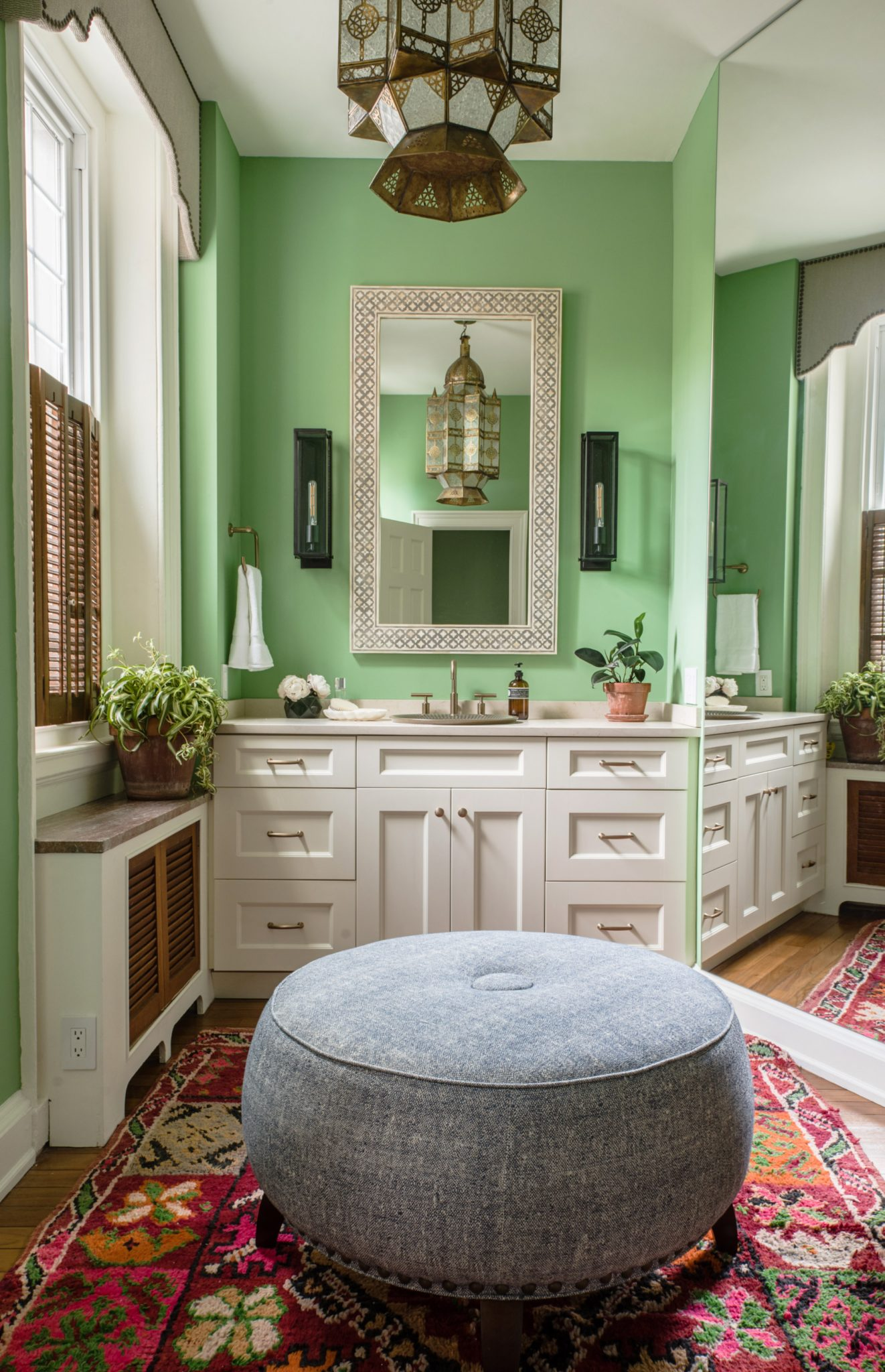 Eclectic Master Bath with Gumdrop Green Walls and Moroccan Lights and Rug by Michele Plachter Design