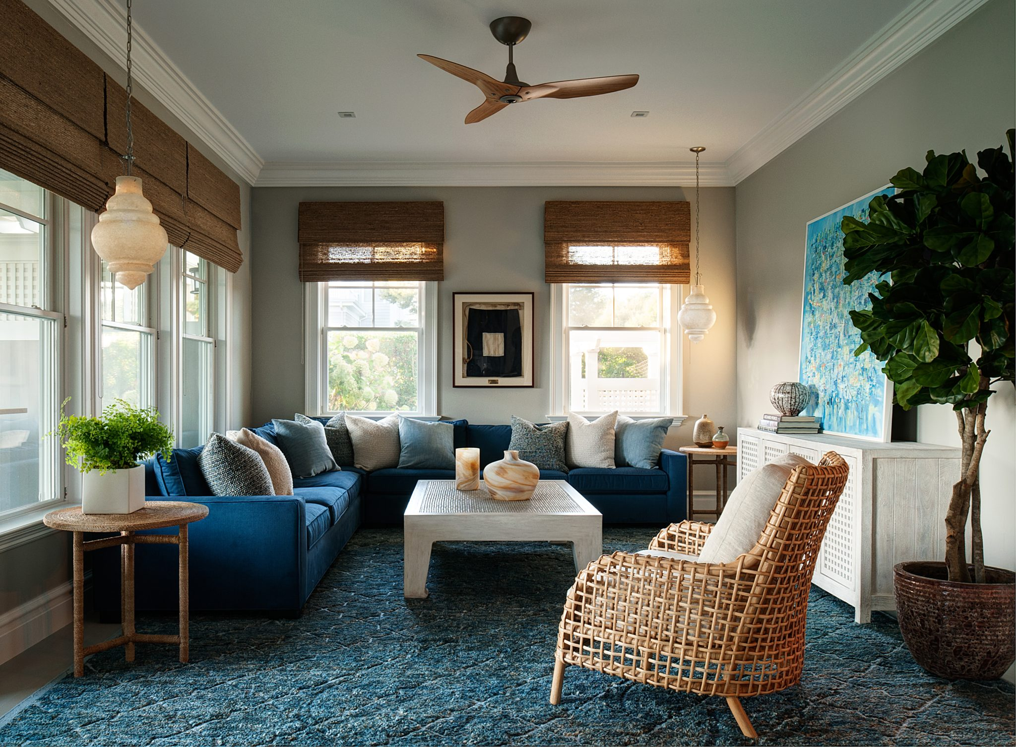 Beach house with a subtle Moroccan vibe, inspired by vintage alabaster pendants. by John Willey | Willey Design LLC
