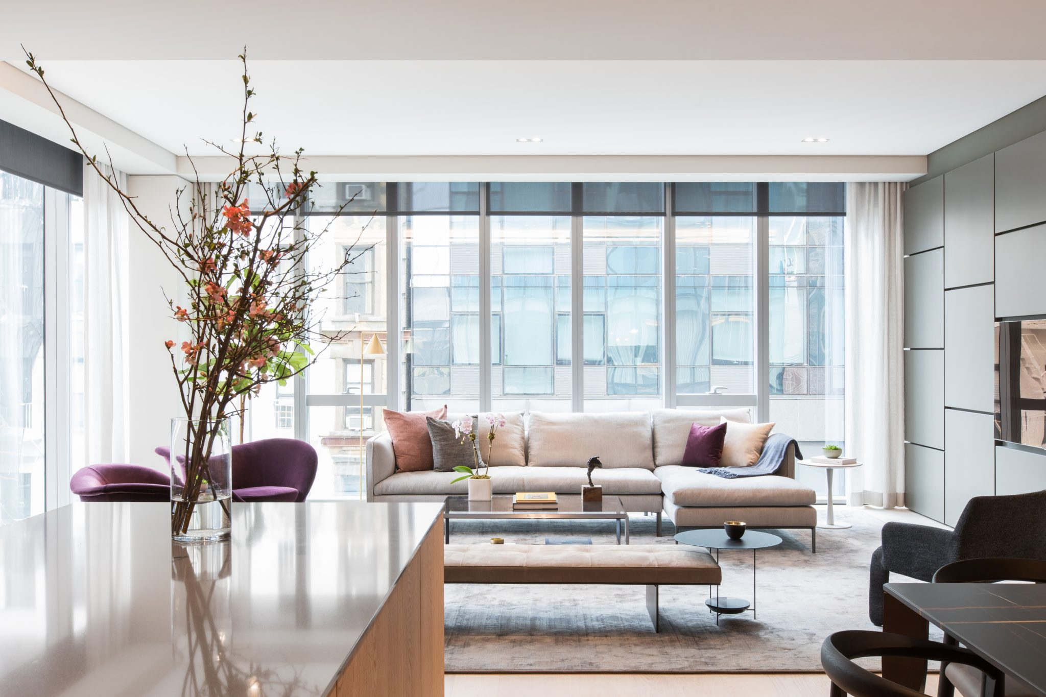 Chelsea High Line living room with custom wall panels by B Interior LLC