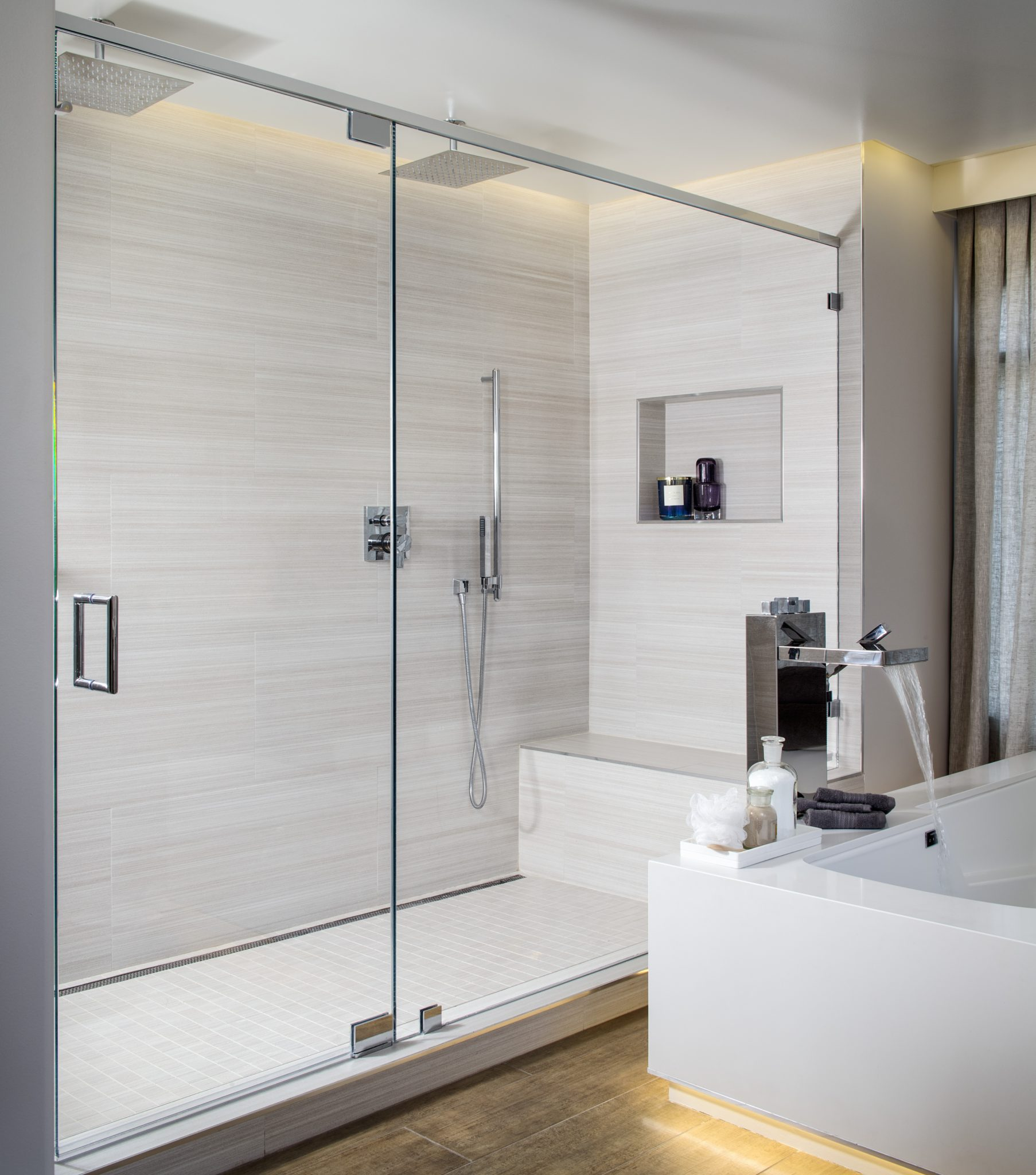 Master Bath Suite with Dropped Ceiling & Dramatic Lighting Creates Sanctuary by SUZA DESIGN