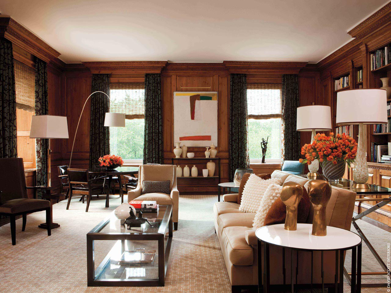 Fifth Avenue residence living room by David Scott Interiors, LTD.
