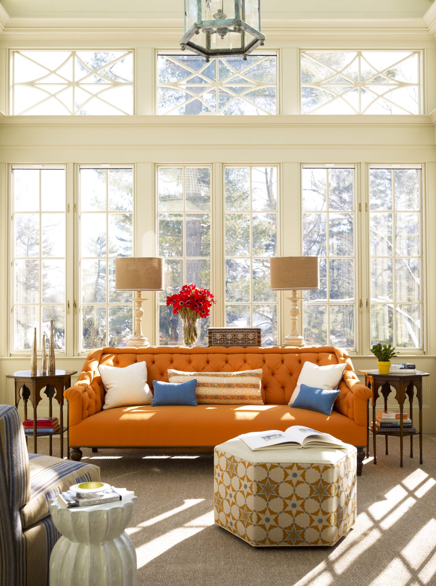 Sunroom with Moroccan-inspired furniture by Katie Ridder Inc.