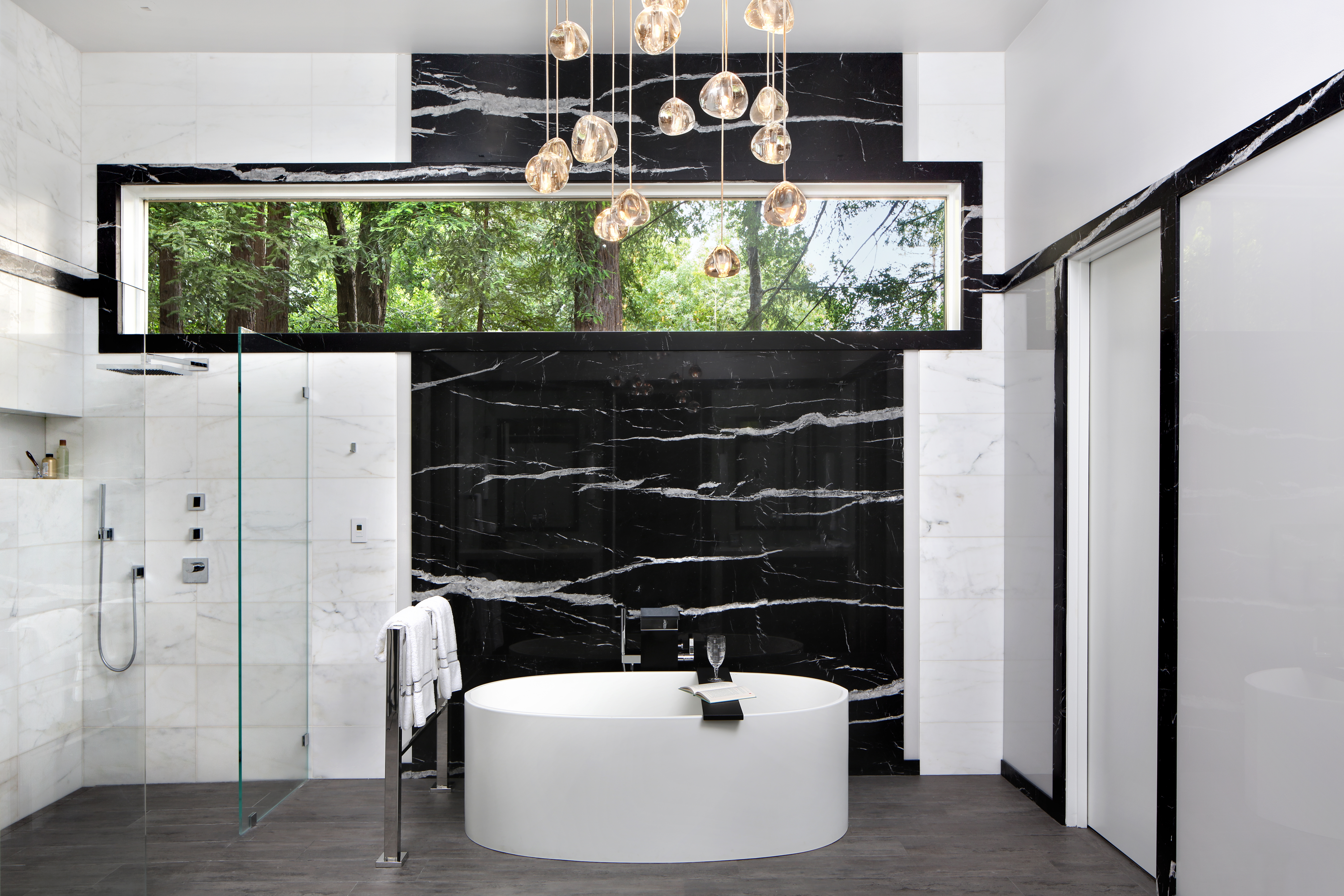 Modern Luxe   Marble Bathroom - Tub & Shower by TRG Architecture + Interior Design