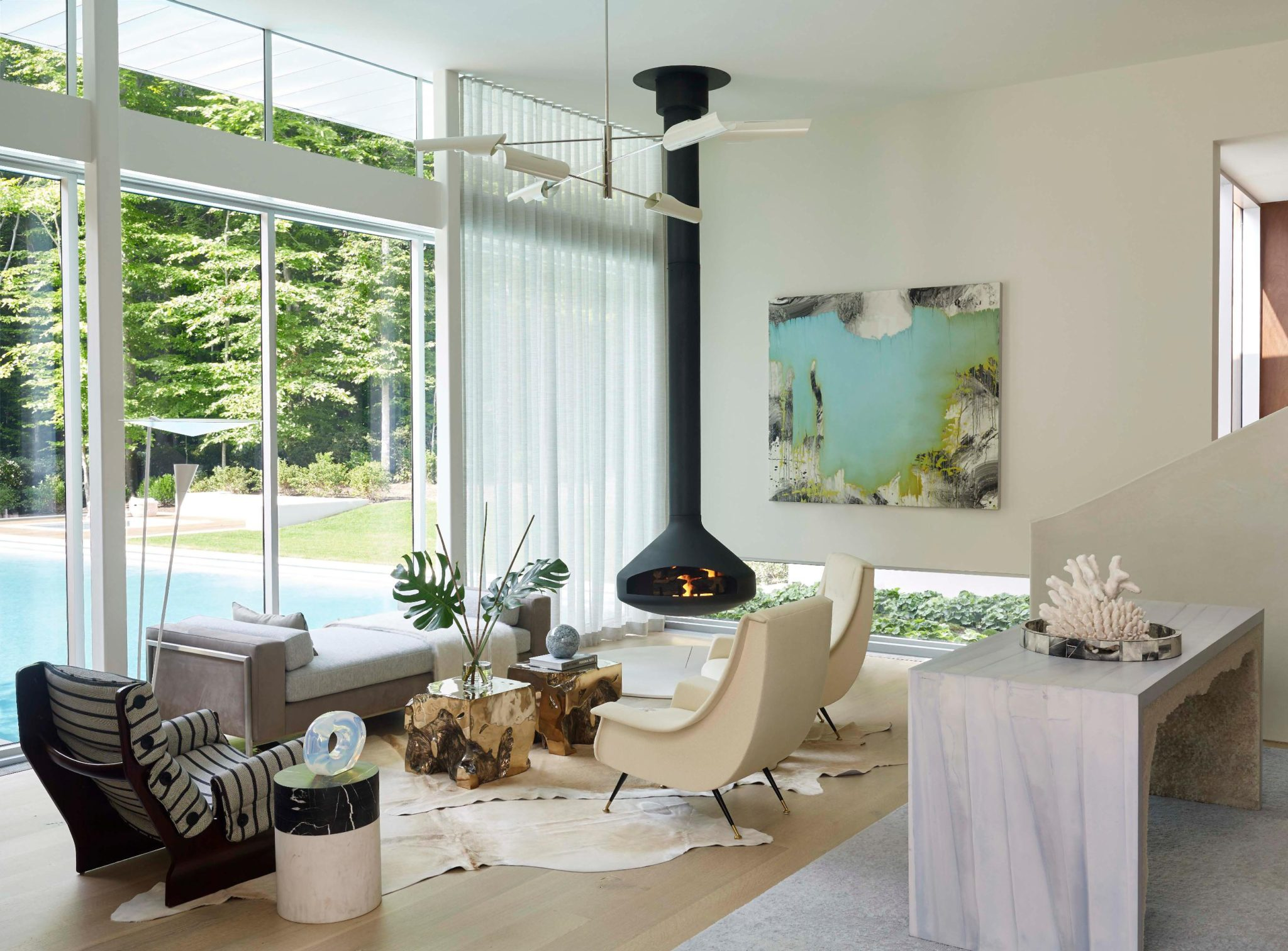 Old Orchard living room fireplace by Blaze Makoid Architecture