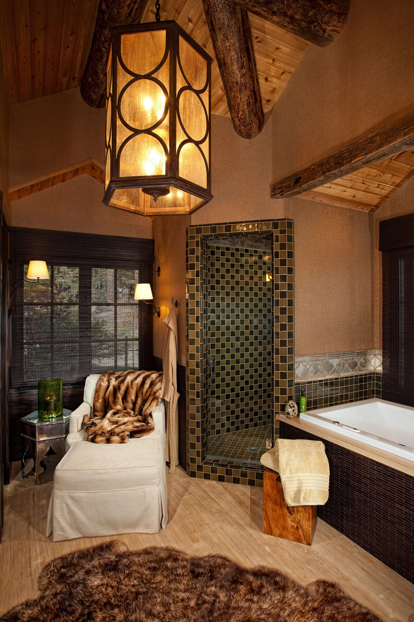 Rustic, funky and yet casually elegant master bathroom in Mammoth Lakes, California. By Brown Design Group