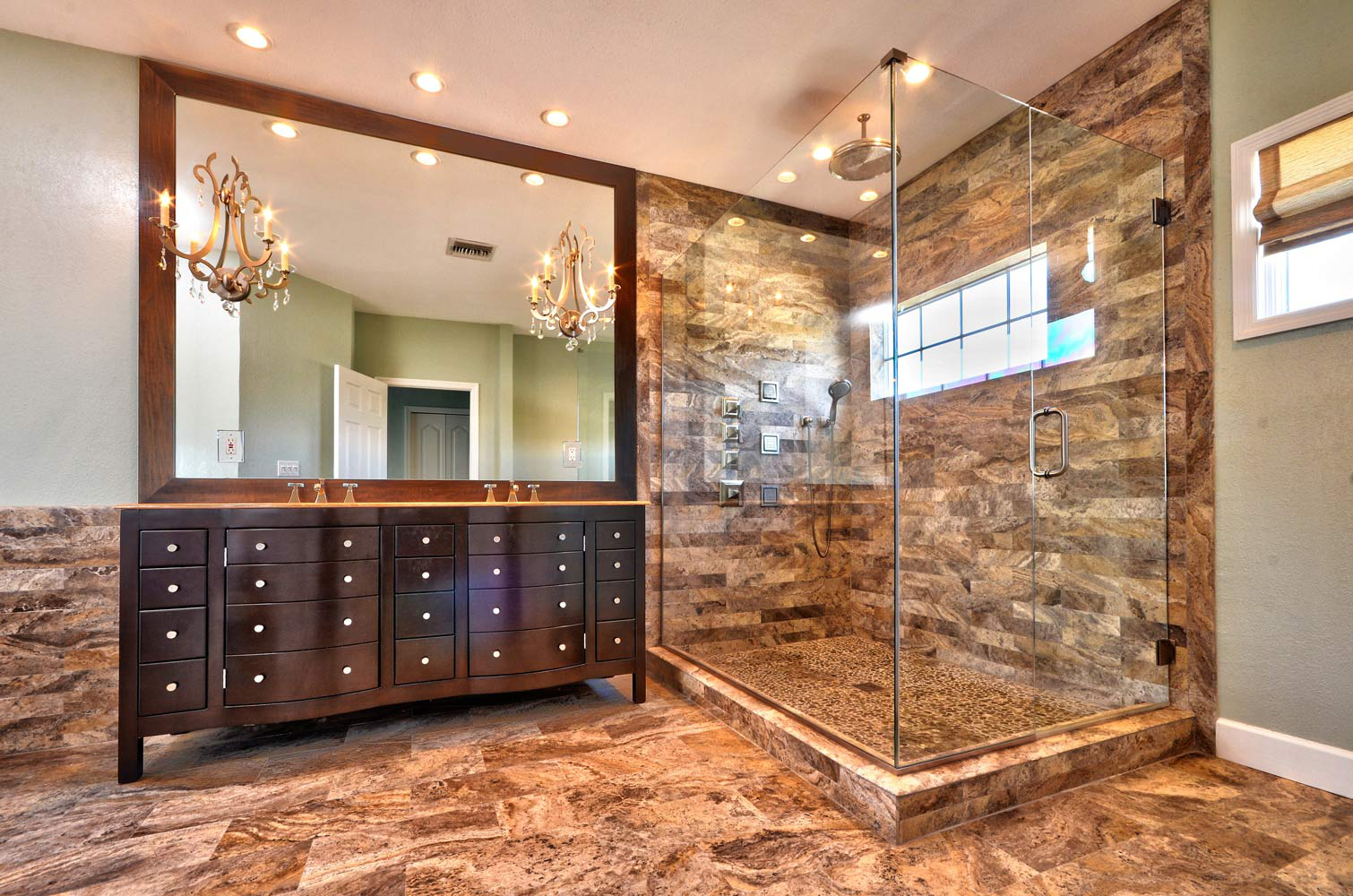 Gulfport custom cabinet shower detail by Crespo Design Group