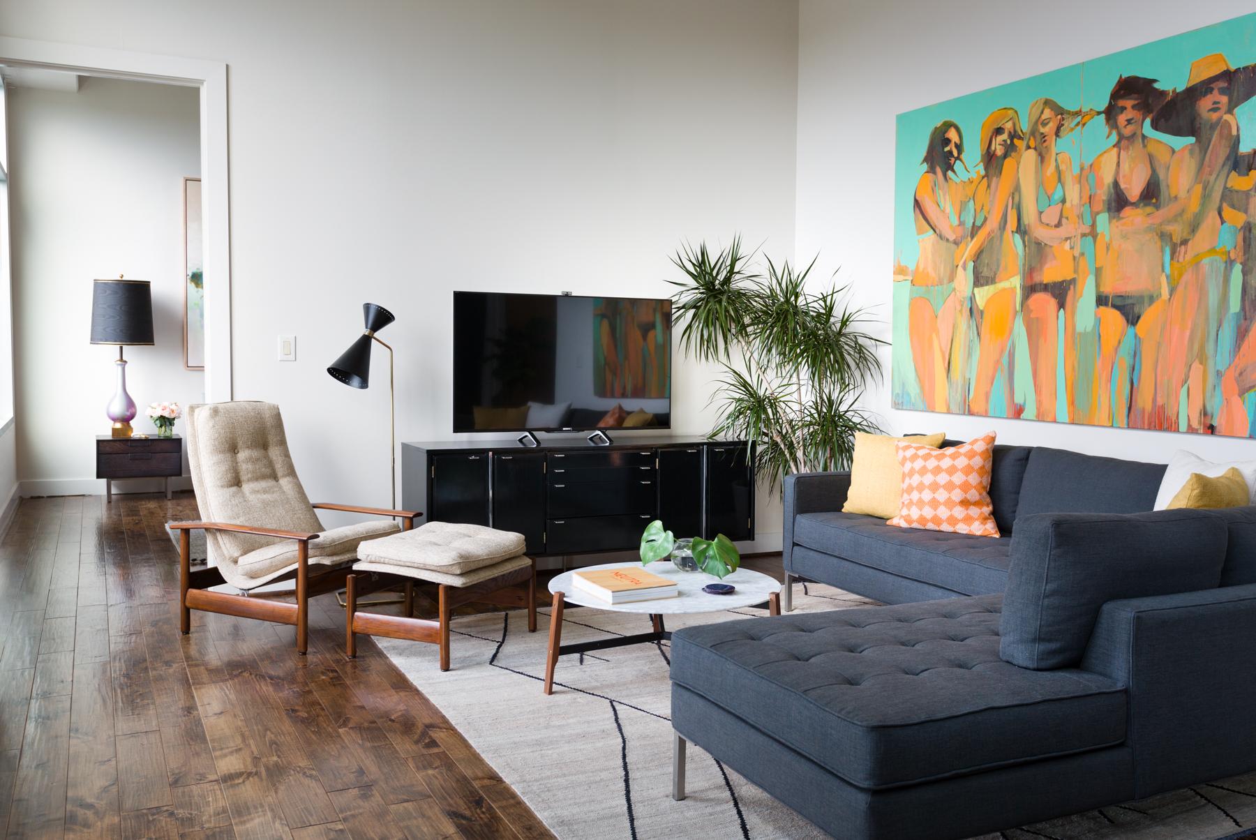 Austin Loft Makeover Living Room by J. Fisher Interiors