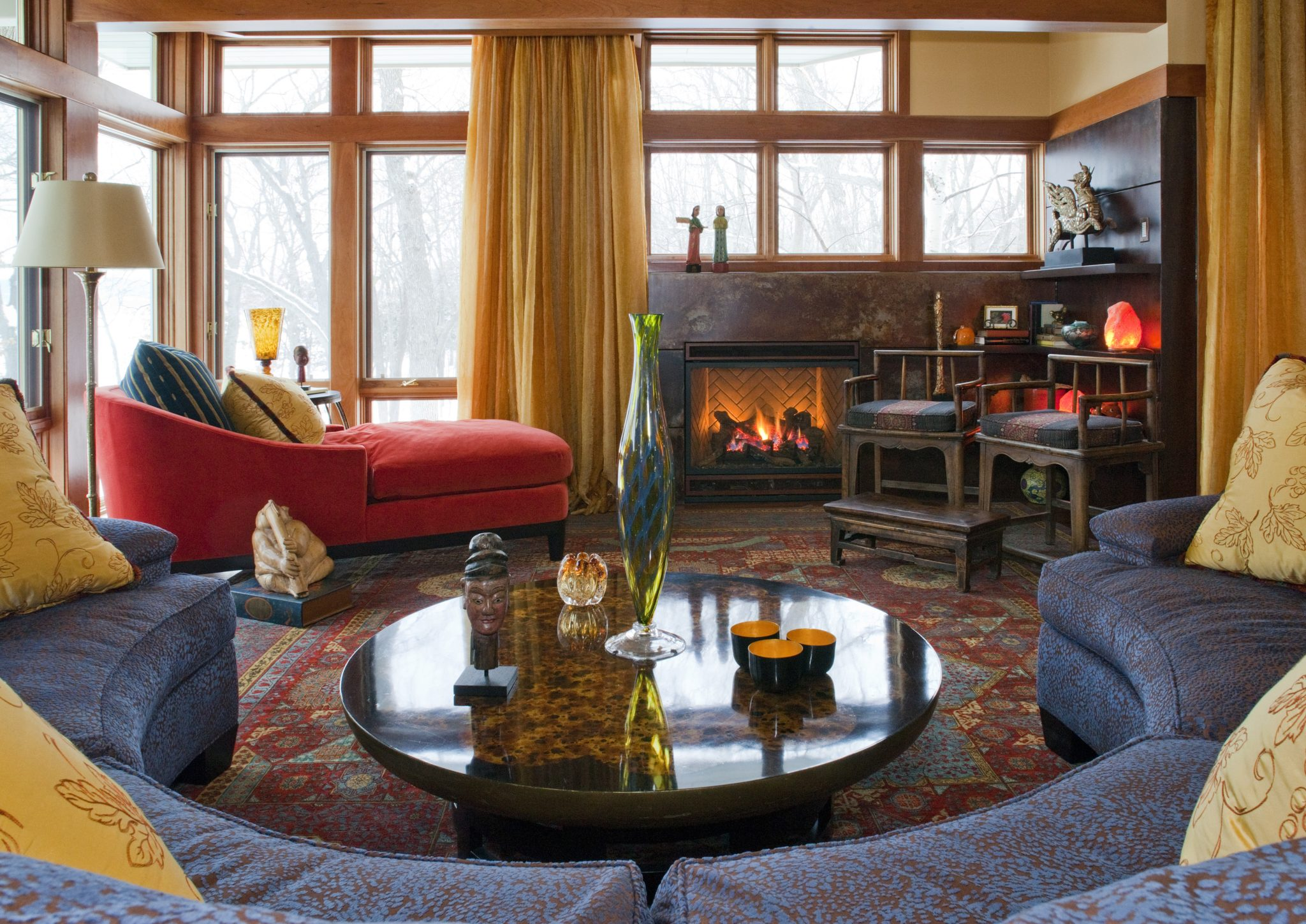 Global and Travel Inspired Family Room by Susan E. Brown Interior Design
