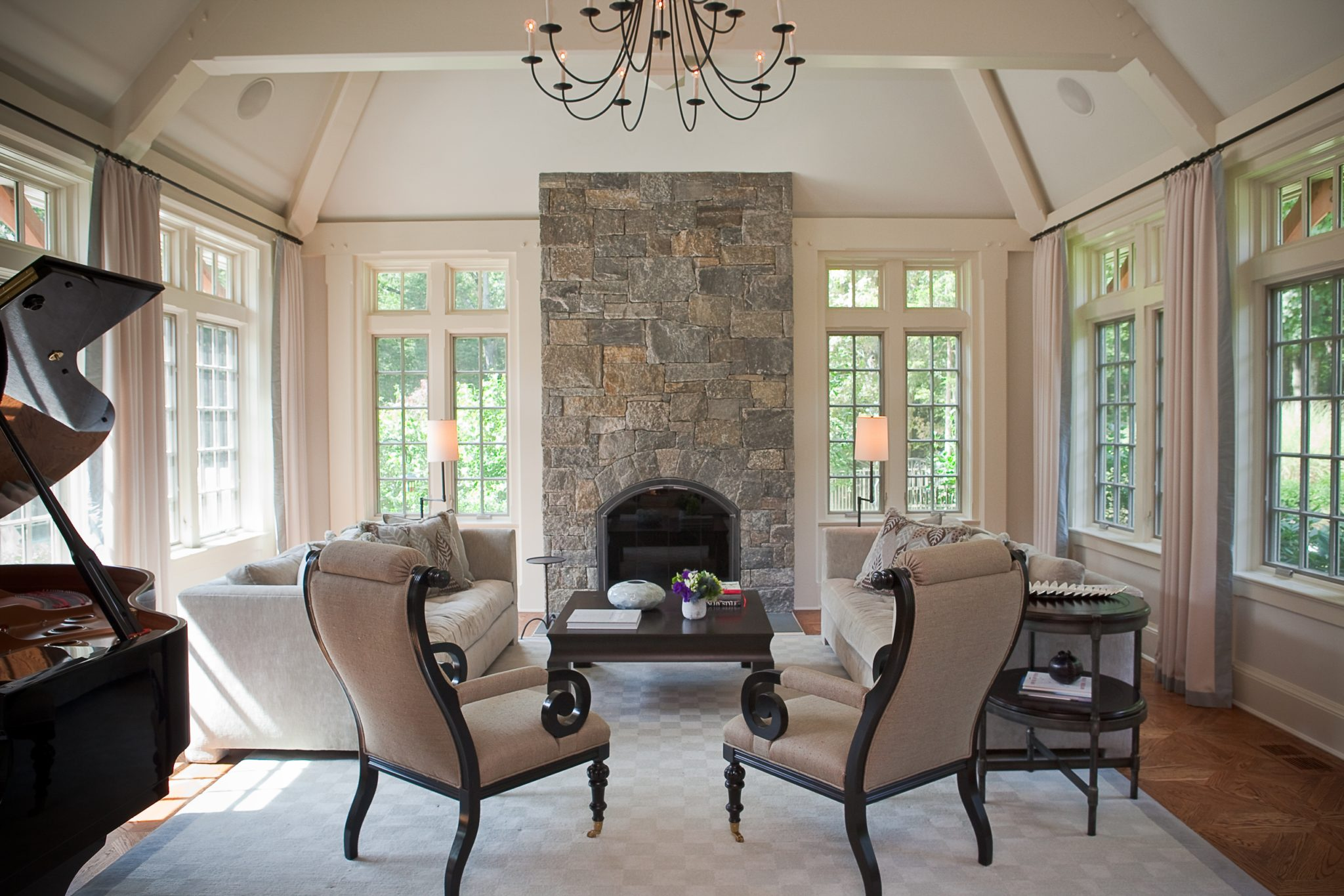An eclectic mix in a Westchester, New York, living room by Rinat Lavi Interiors