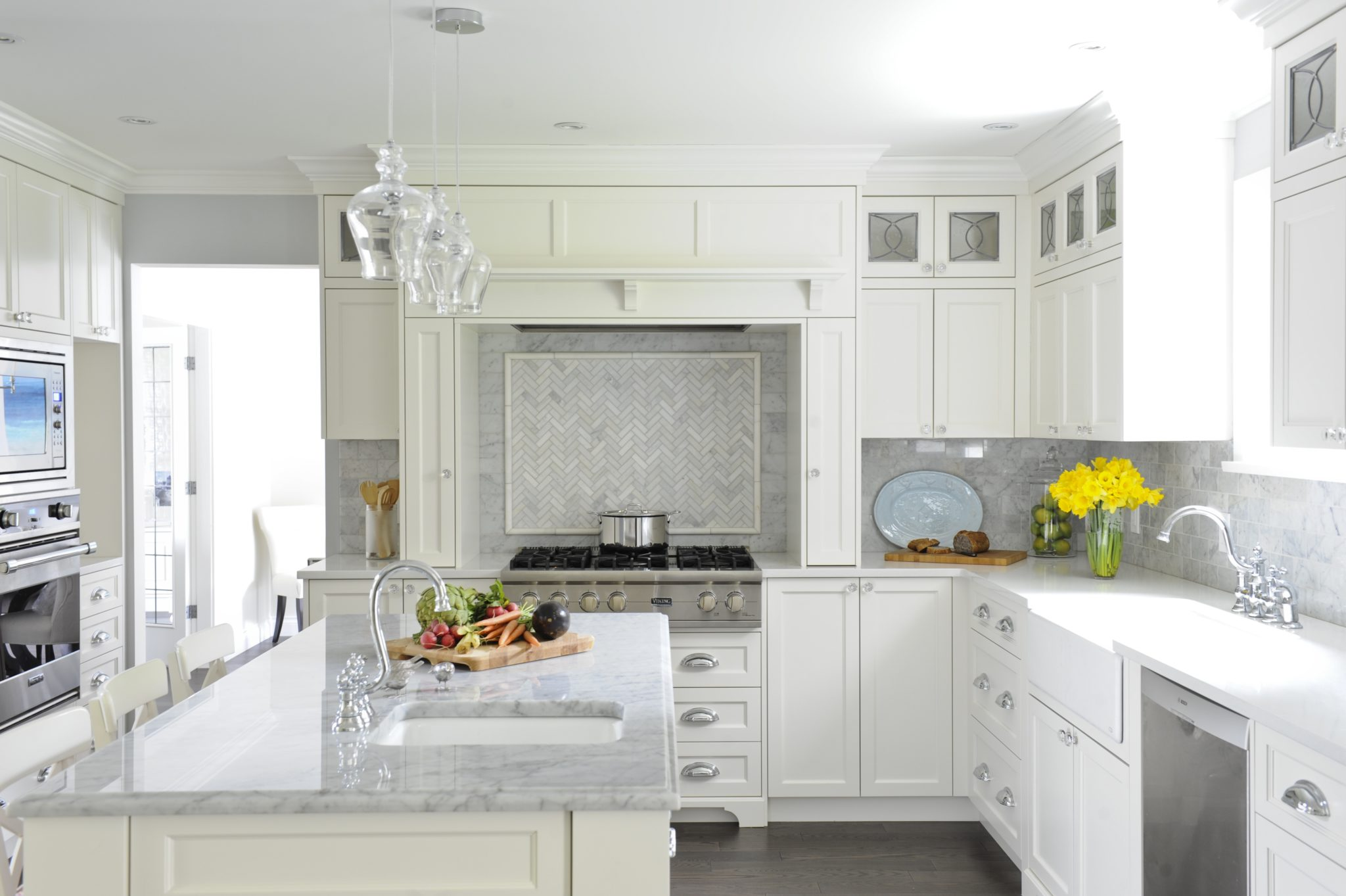 Bright Sherwood kitchen with Carrera marble and light cabinetry by Enviable Designs