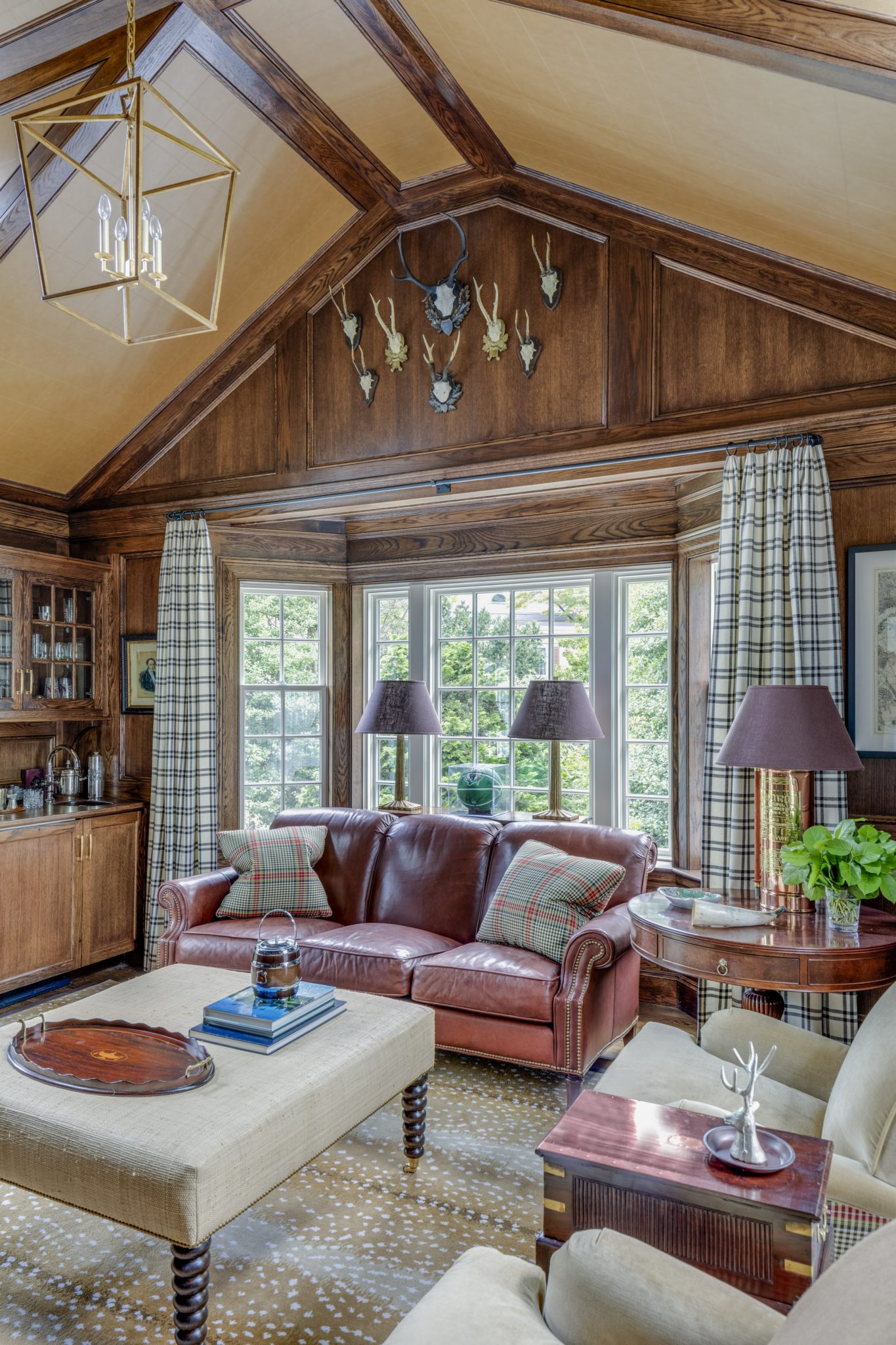 Richly Paneled Den in Dover, MA - our homeowners call this room Man Land by Patrick Ahearn Architect