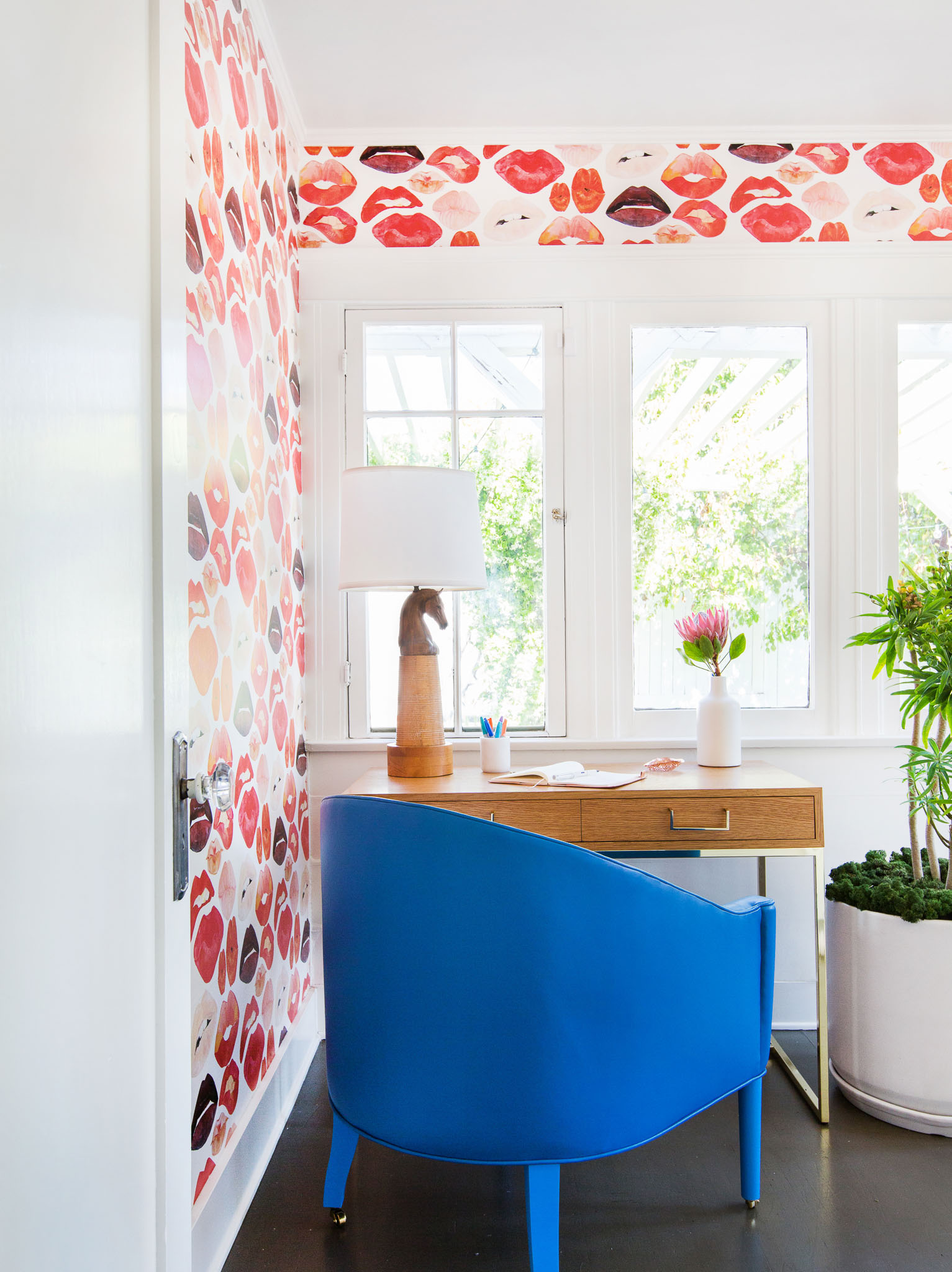 Writer's Home Office Featuring Custom Leather Chair andVibrant Lips Wallpaper. By Stefani Stein Inc.