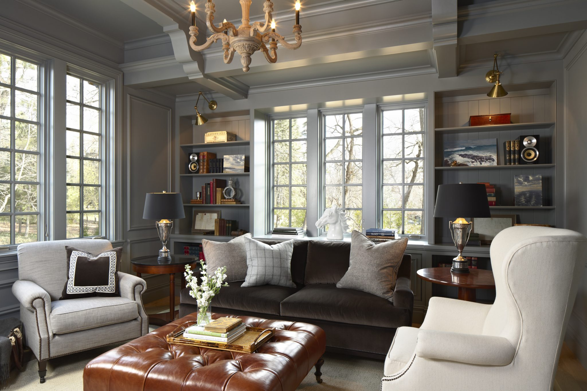 Grey Paneled Sitting Room by Murphy & Co. Design