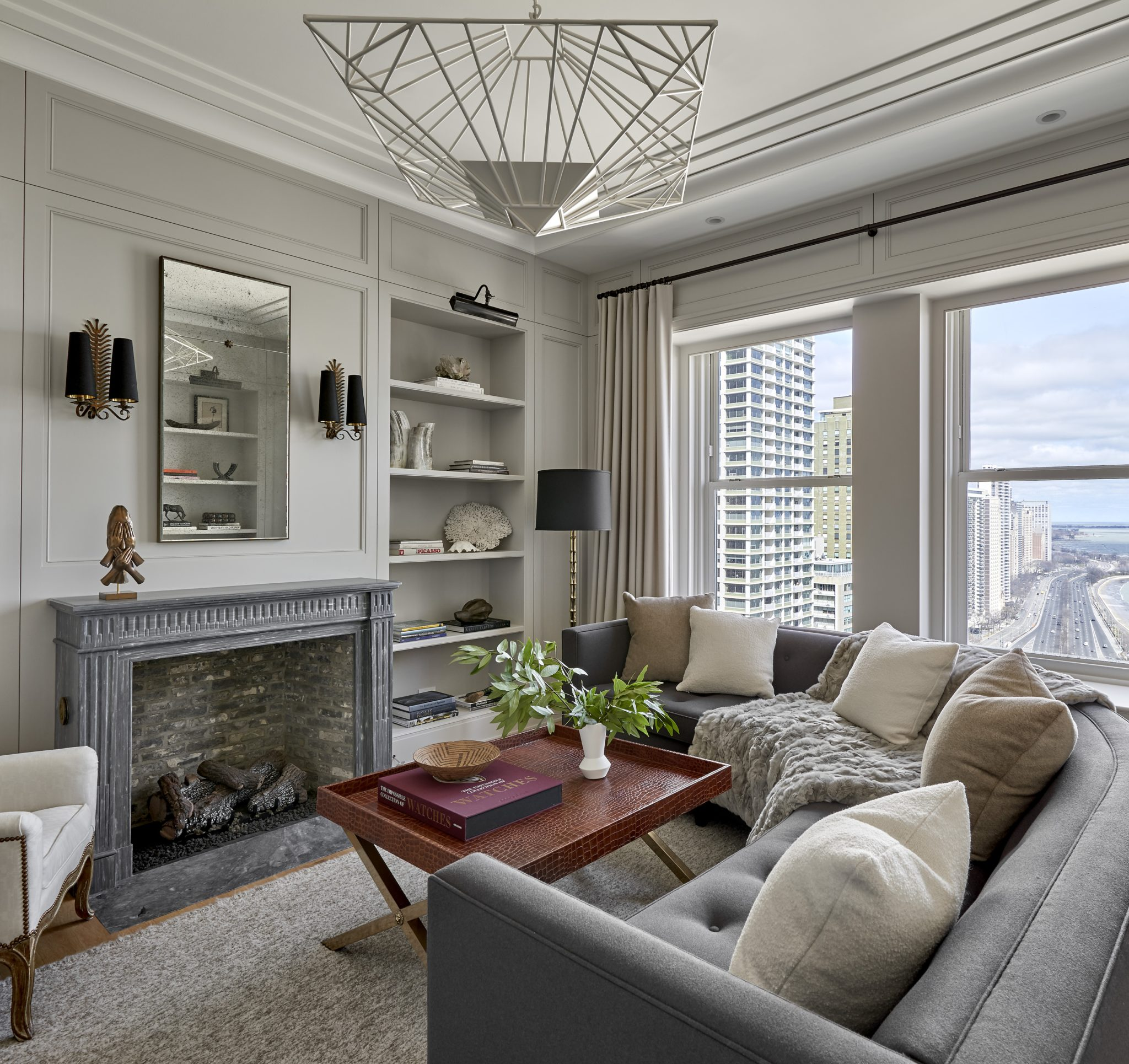 Historic Palmolive Building Residence Living Room. Interior Architectureby Kadlec Architecture + Design.