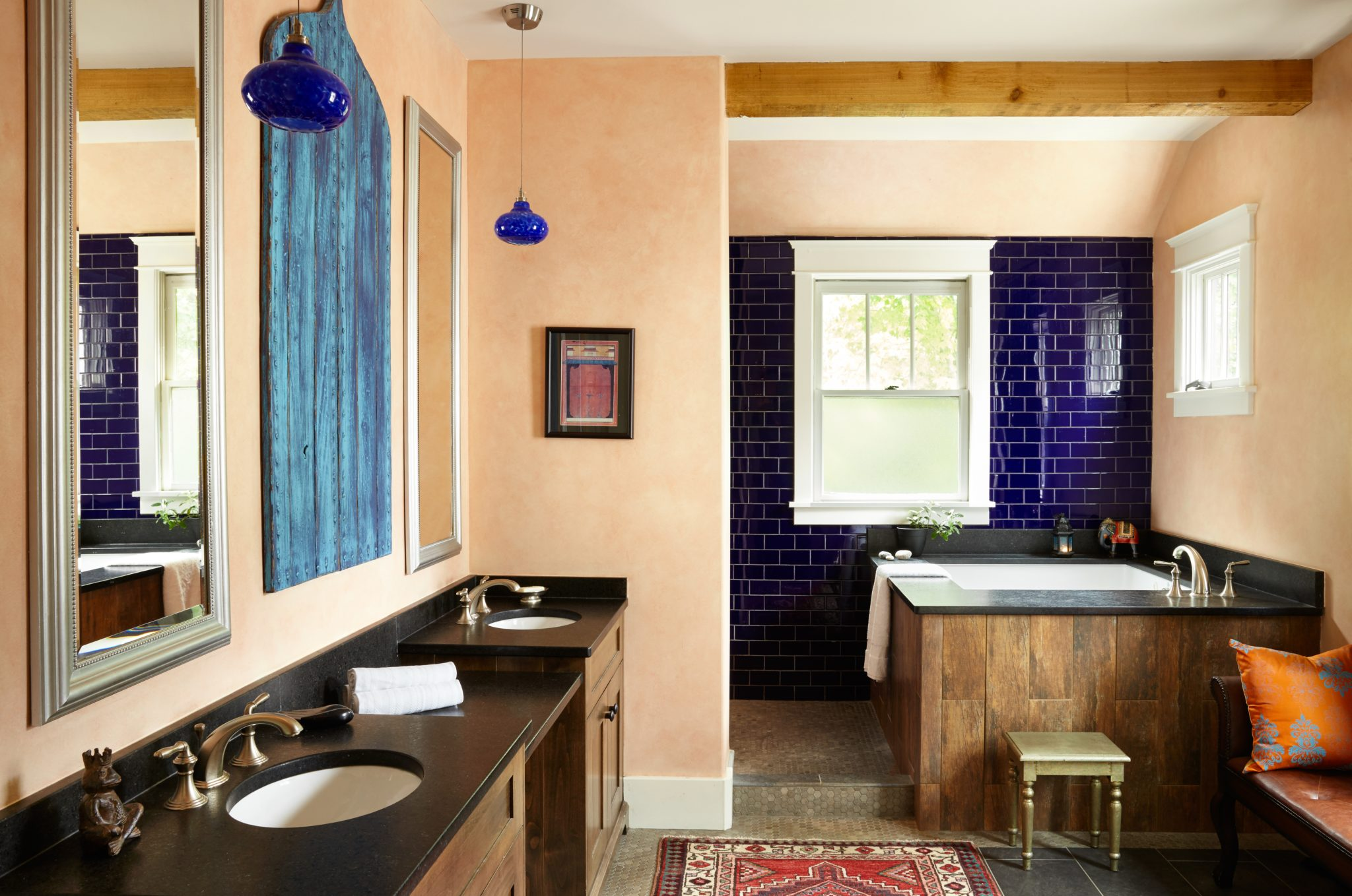 Moroccan-style bath with Japanese-style soaker tub. By Marcelle Guilbeau Interior Design