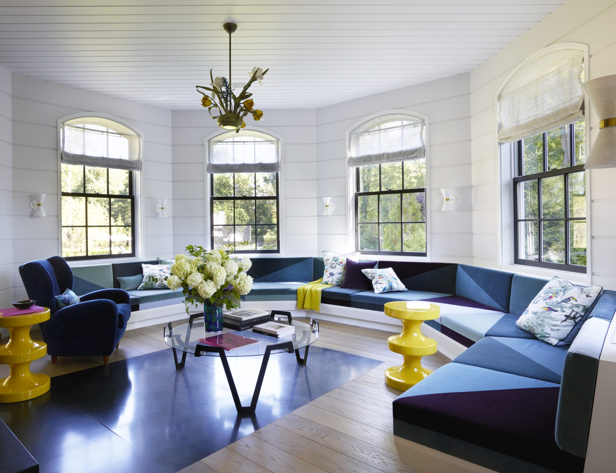 Short Hills Shingle Style Residence, A Light Filled Seating Room by Douglas C. Wright Architects
