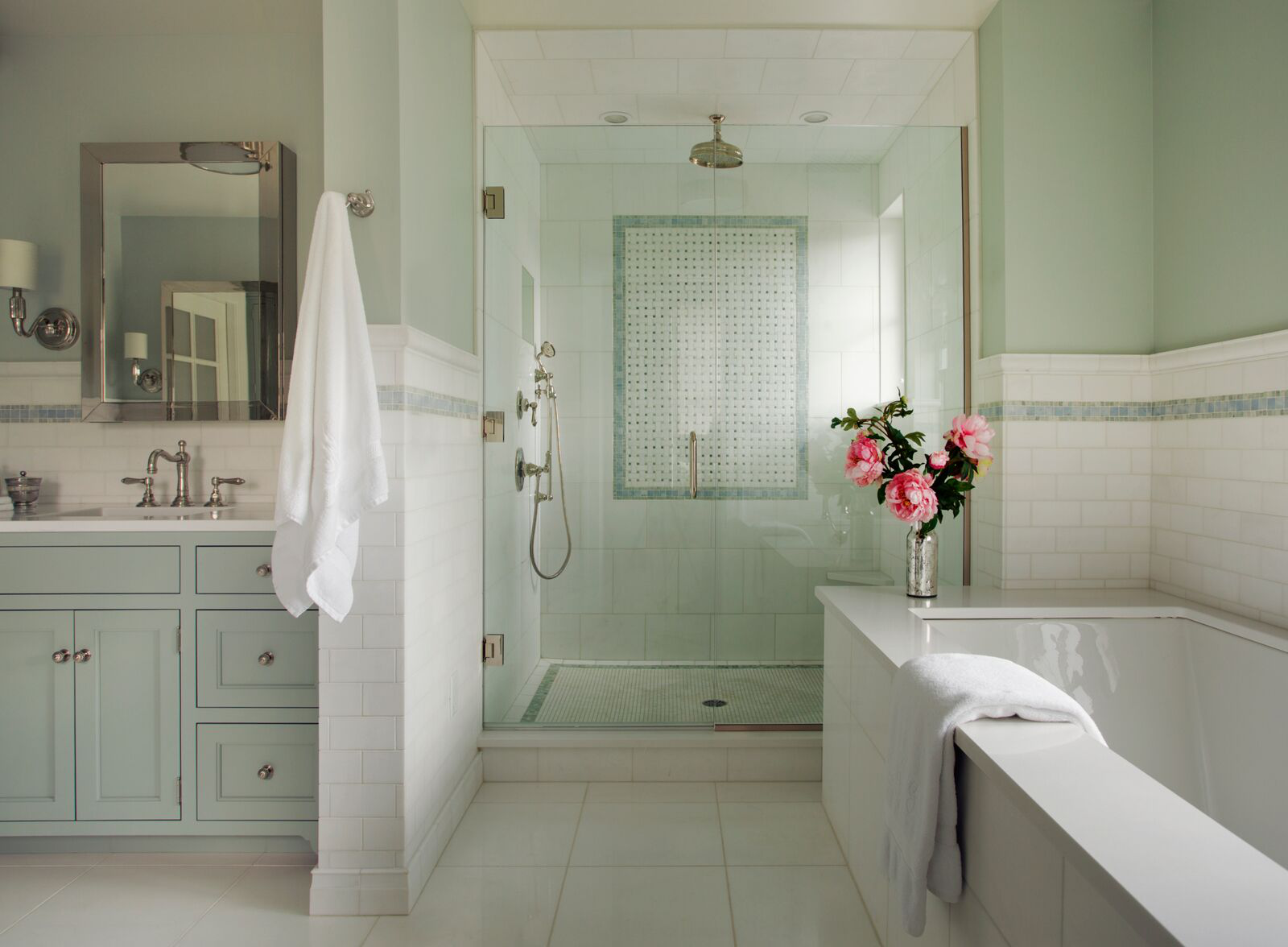 Contemporary farmhouse bathroom with tile shower, pistachio palette by Alexandra Rae Design