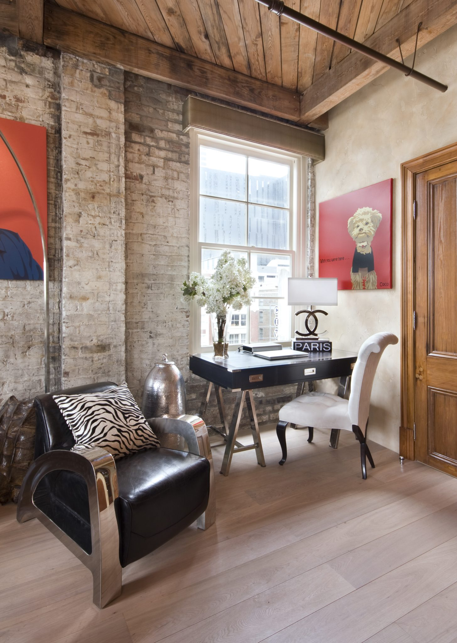New Orleans Penthouse - Office with Exposed Antique Brick by Posh Exclusive Interiors