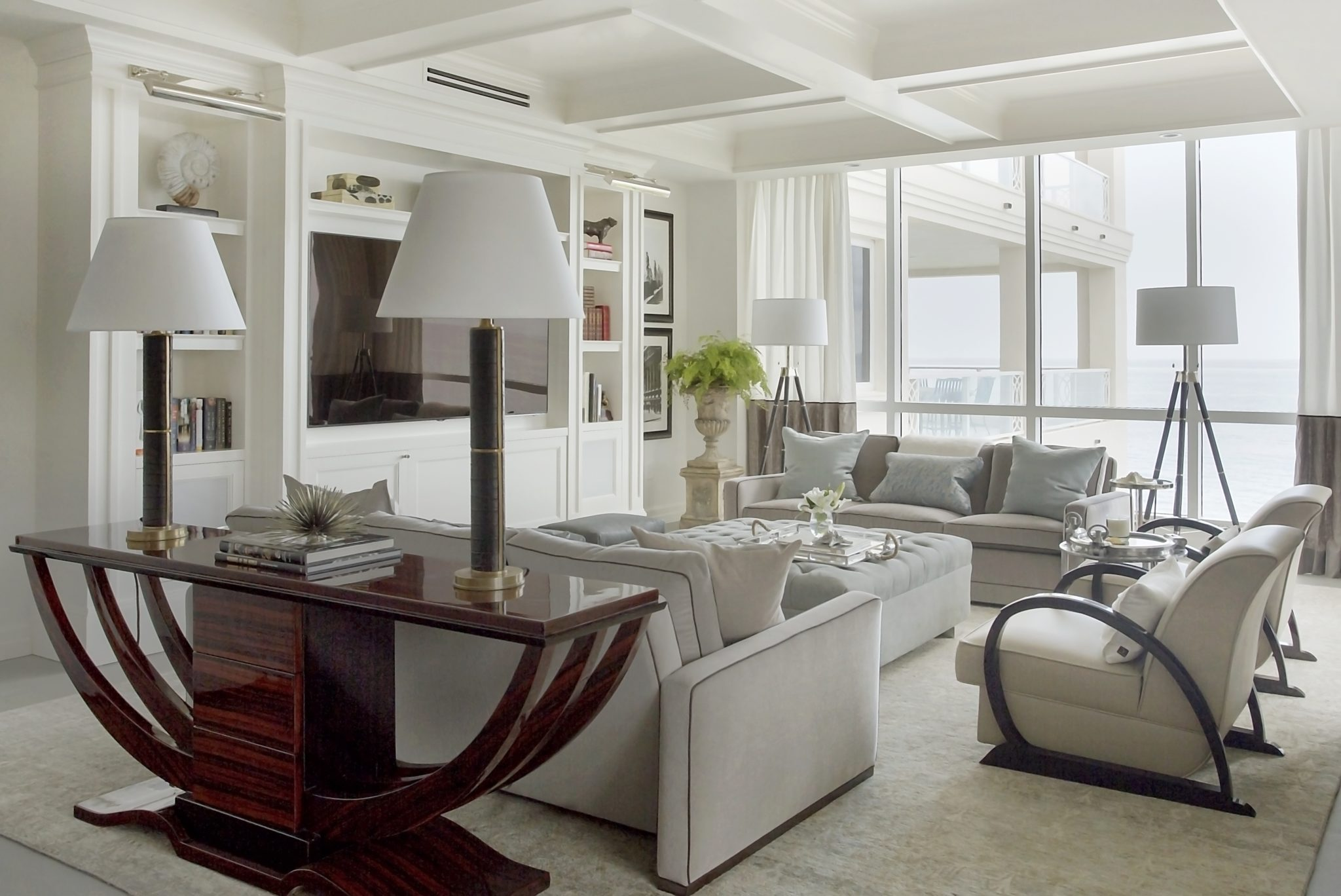 Gulf Stream living room with coffered ceiling, Art Deco console and armchairs by Kristin Paton Interiors