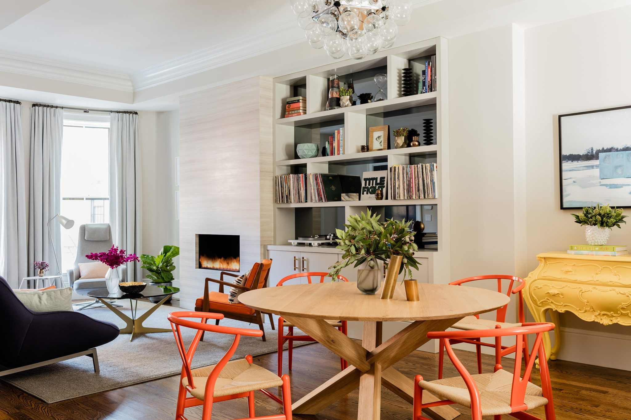 South End townhouse, great room by Elms Interior Design