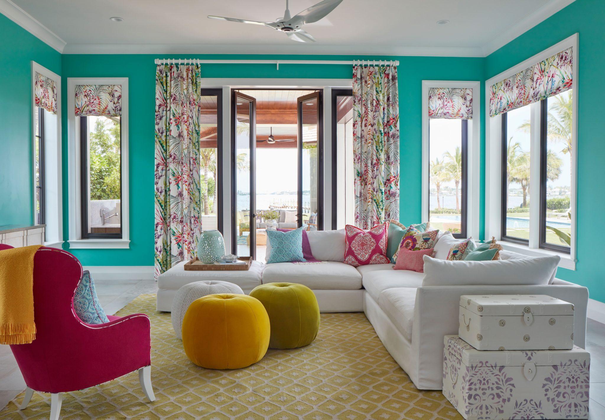 Fun colorful family room by JMA Interior Design