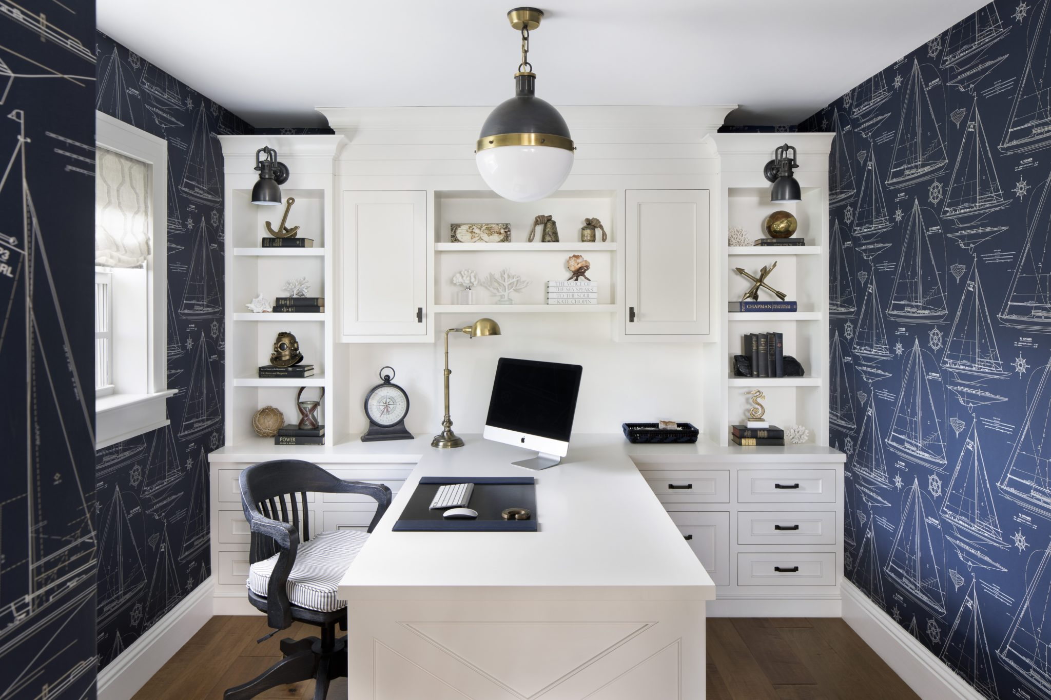 Boathouse-Inspired Home Office with Sailboat Wallpaper by Lisa Michael Interiors