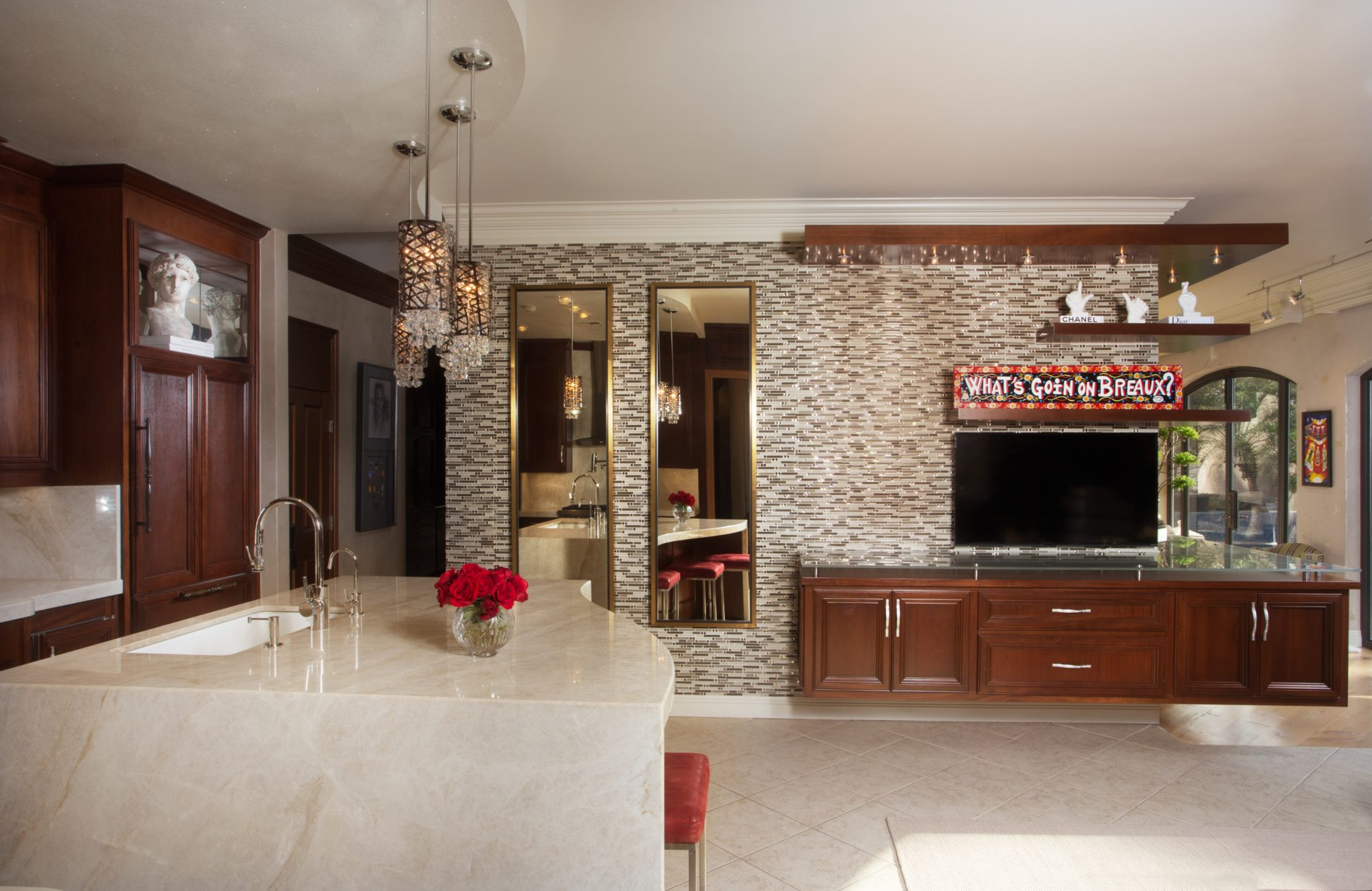 Elegant Transitional House, Kitchen & Media Room with Glass Tile Walls by Posh Exclusive Interiors
