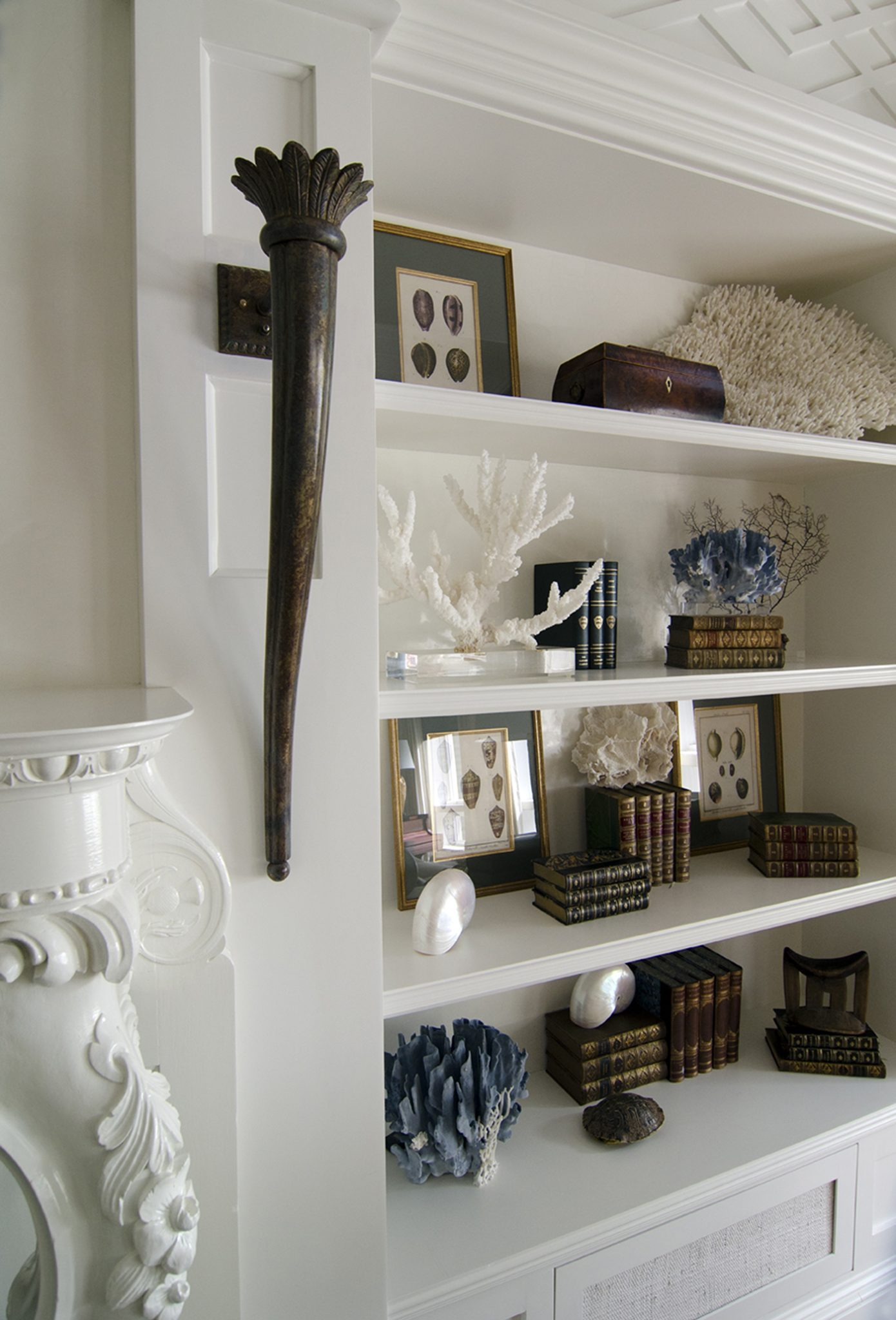 Shelving unit in master bedroom by Judith Liegeois Designs