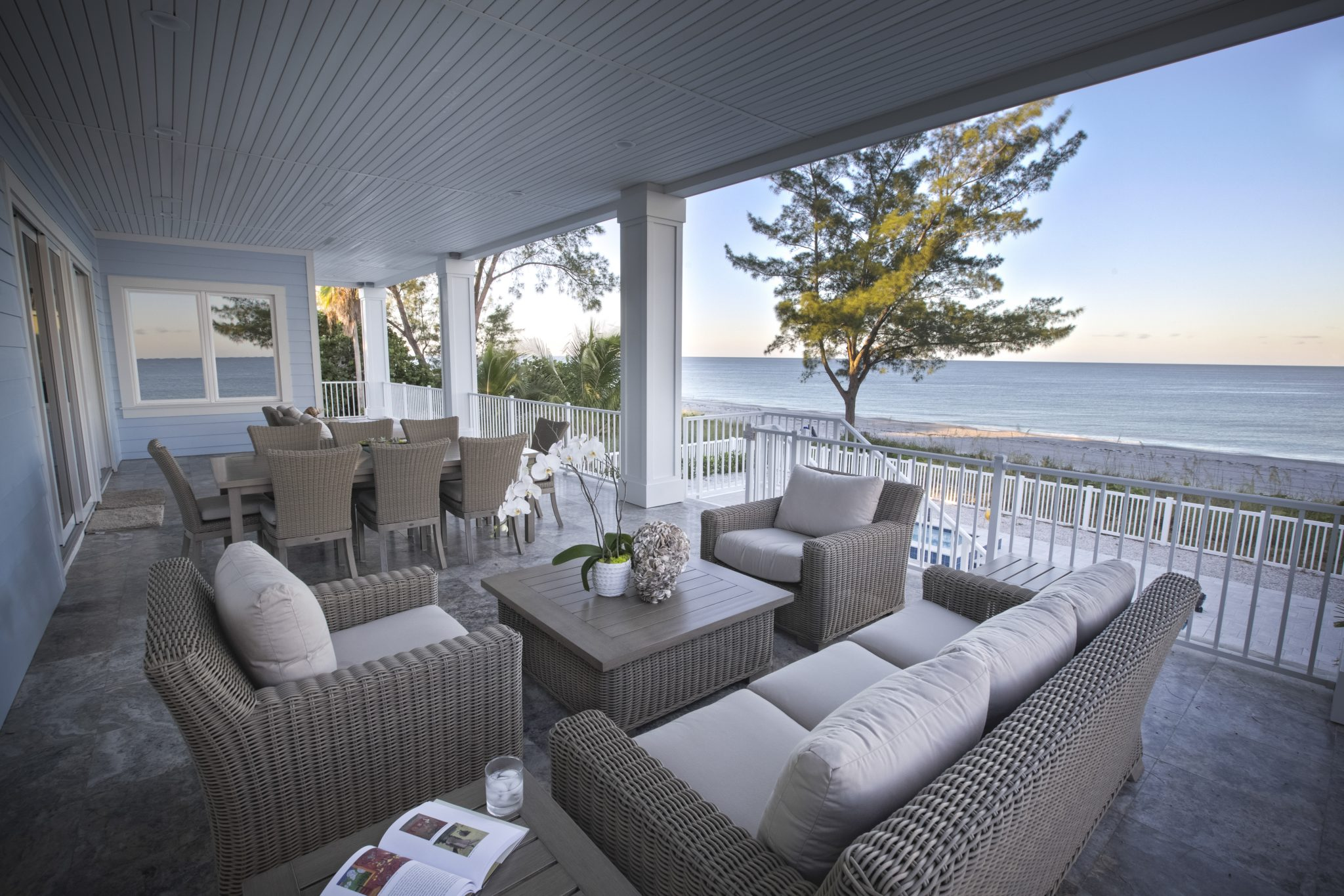 Gulf front residence, exterior balcony by Kari Wilbanks Interior Design
