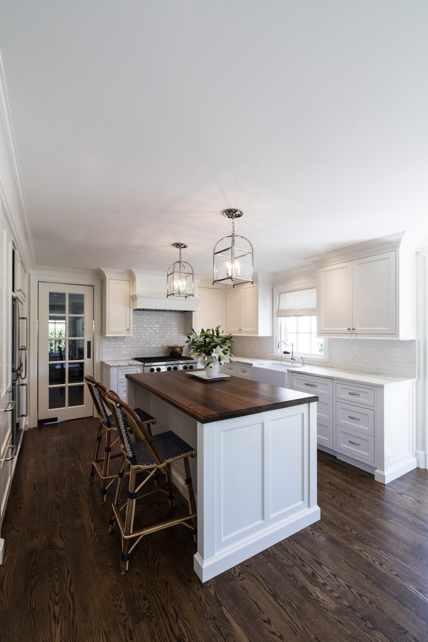 Medina White on White Kitchen and Family Dining Room, Urban Electric Co Lighting by LeeAnn Baker Interiors Ltd.