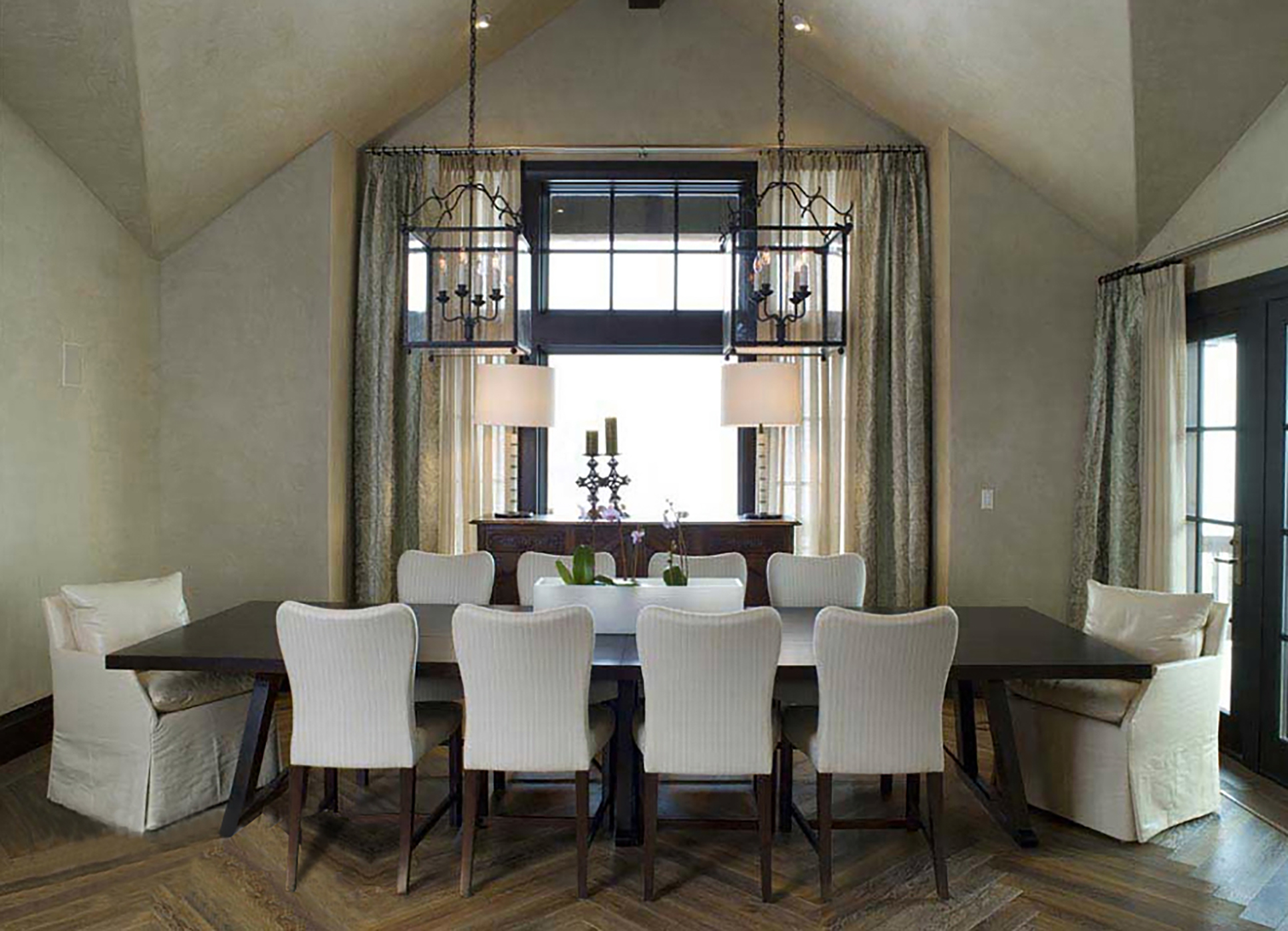 Dining Room with Savannah Side Chairs by Maxine Snider Inc.
