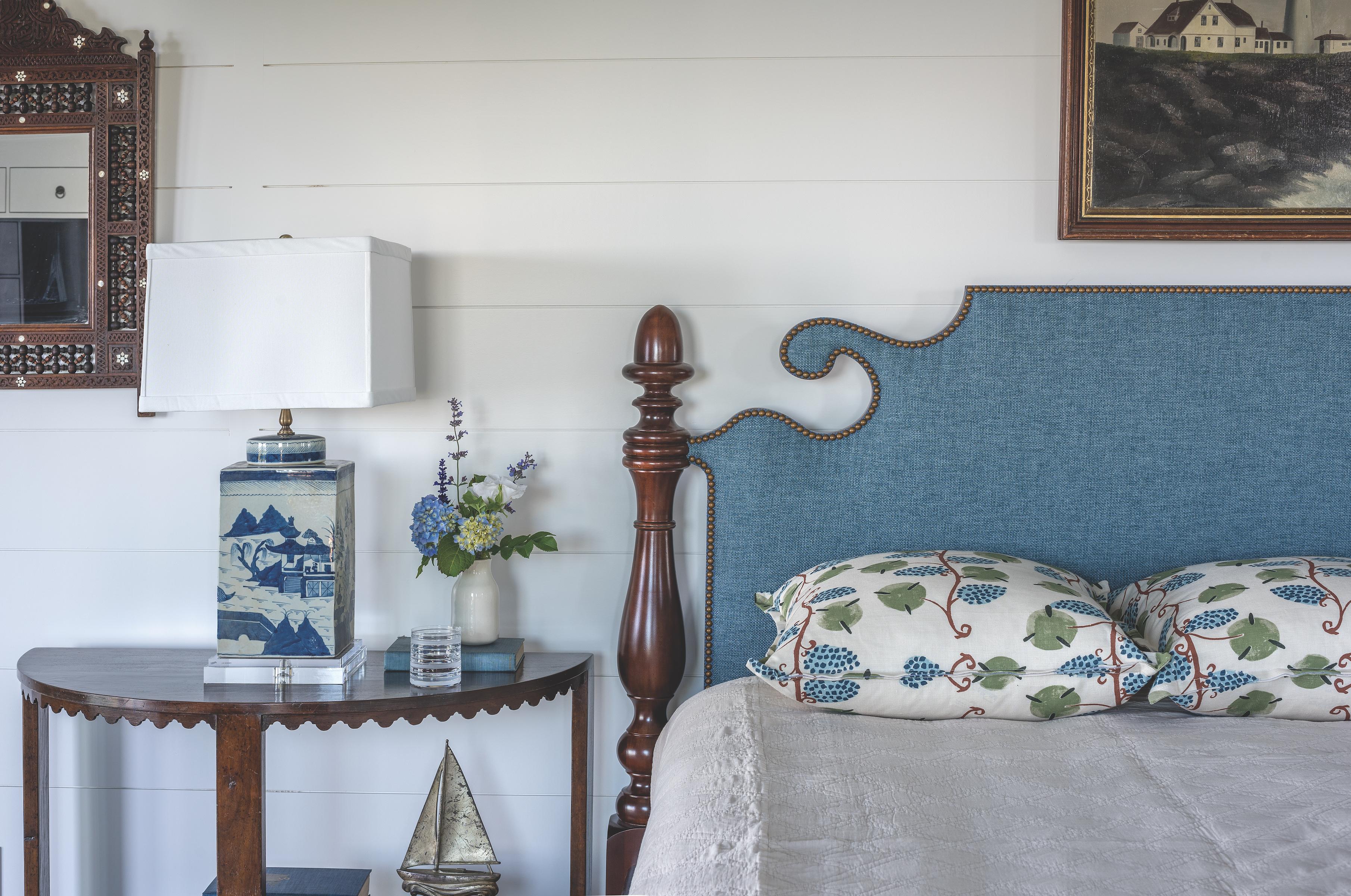 Bedroom vignette at Ship's Channel, Cape Elizabeth, by Banks Design Associates Ltd.