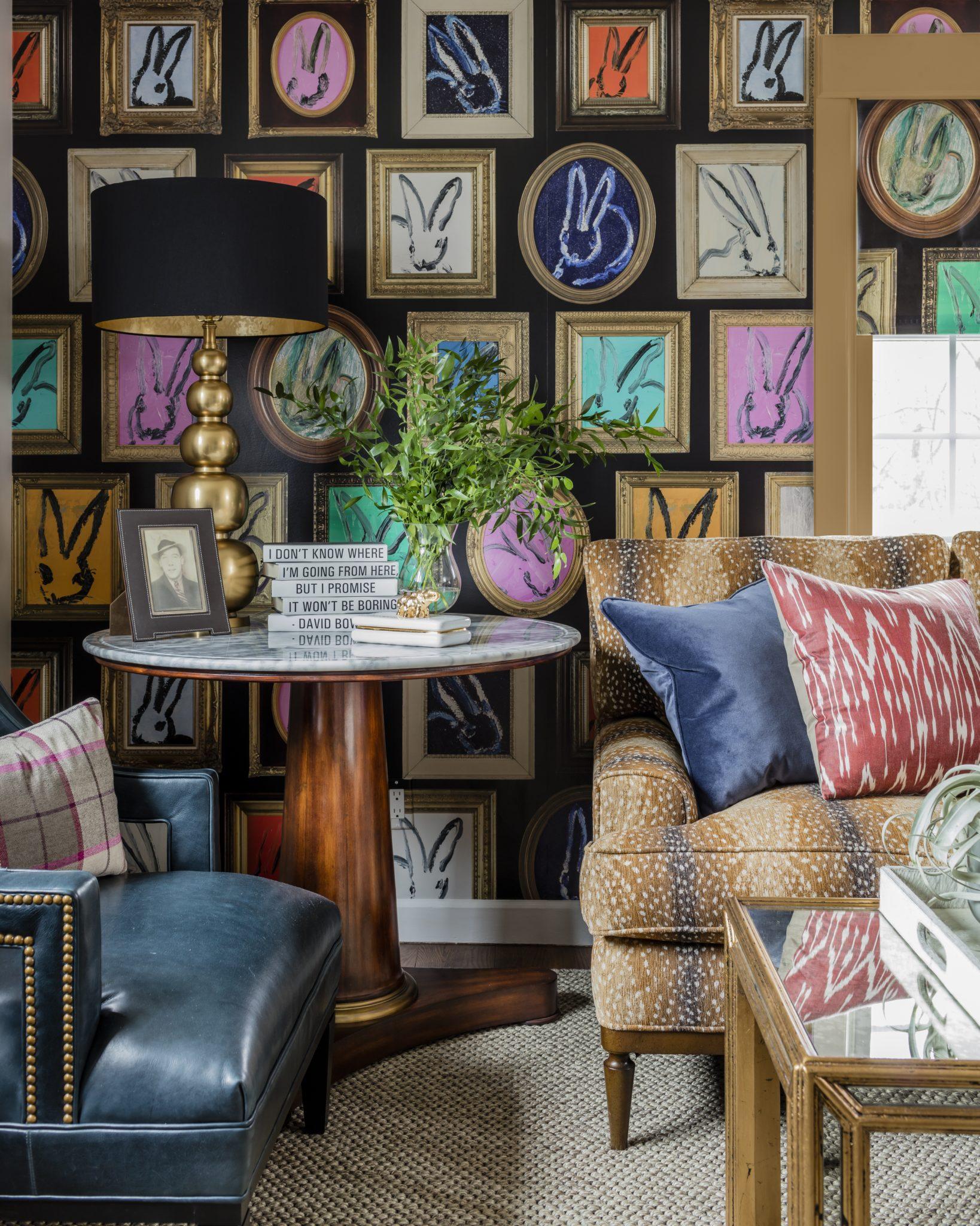 Hunt Slonem bunny wallpaper colorful living room deerskin fabric nailhead blue by Robin Gannon Interiors