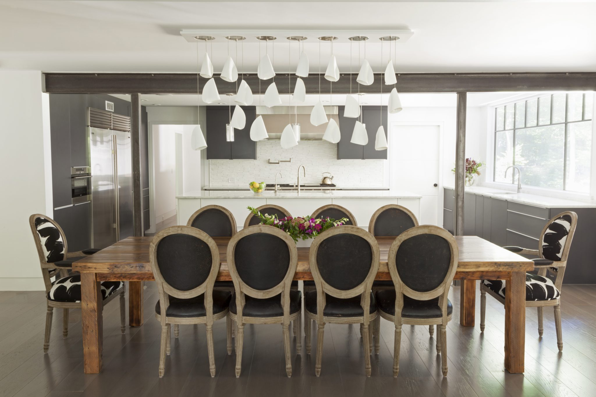 Open Dining Room - Unique White Chandelier - Allendale, NJ Residence by Jenny Madden Design