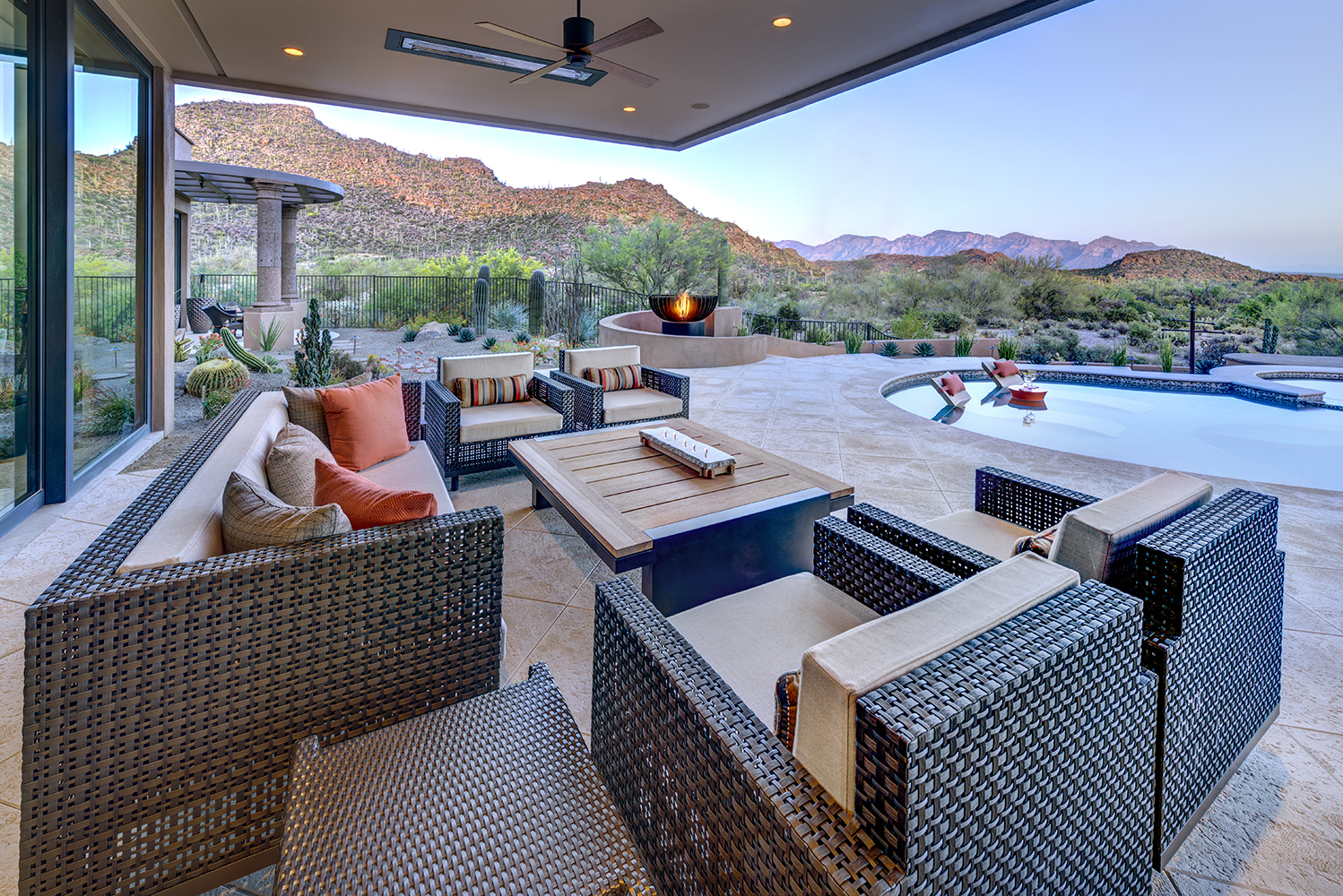 This backyard oasis combines the basics of interior design with outdoor living by Lori Carroll & Associates