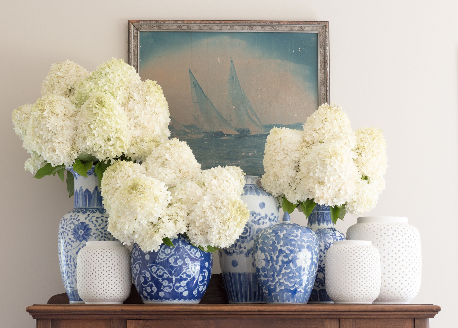 Blue and white living room by Matthew Caughy