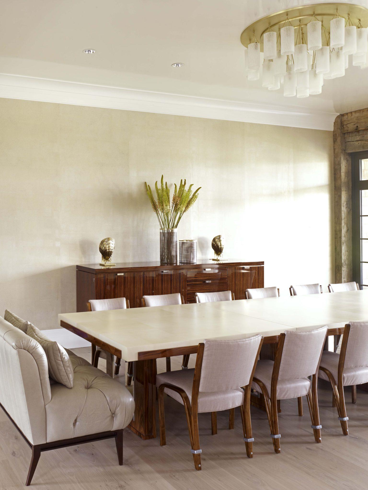 Bridgehampton Residence, Dining Room w/ artisan lighting by Stephens Design Group