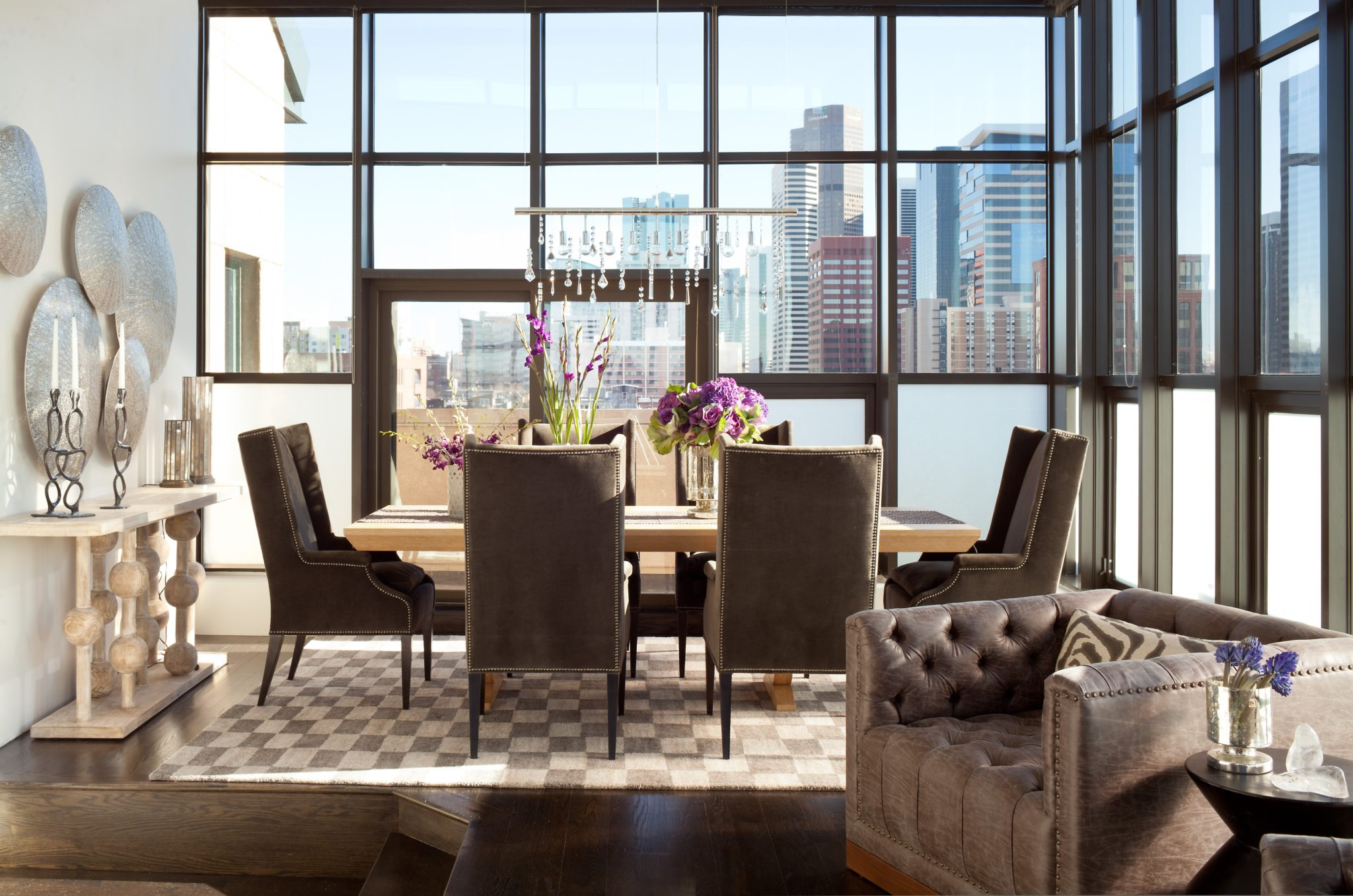 Downtown penthouse dining area by Ashley Campbell Interior Design