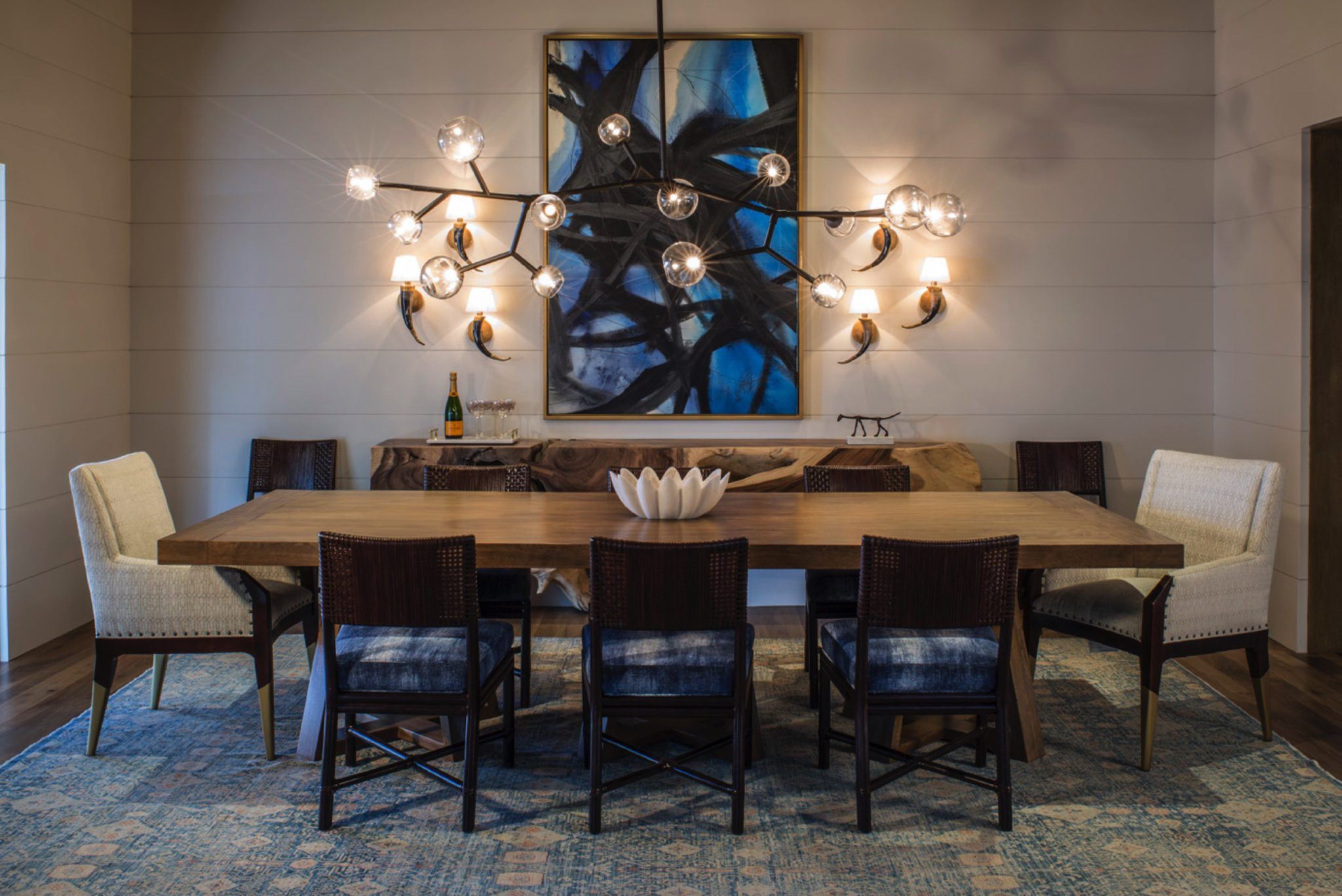 Contemporary Dining Room with Blue Accents by Norman Design Group