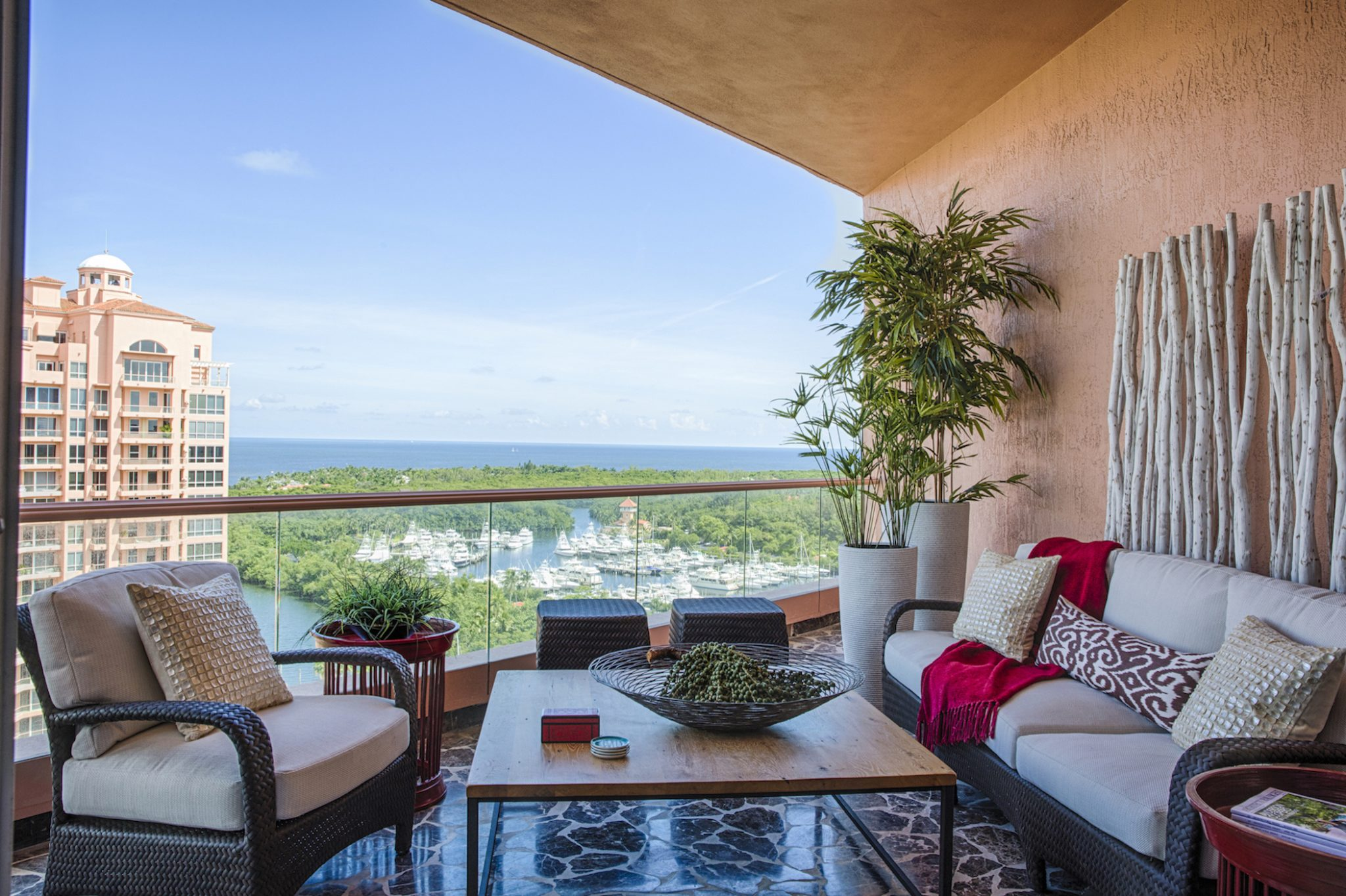 This penthouse overlooks Biscayne Bay, with an indoor/outdoor vibe. By Taylor & Taylor