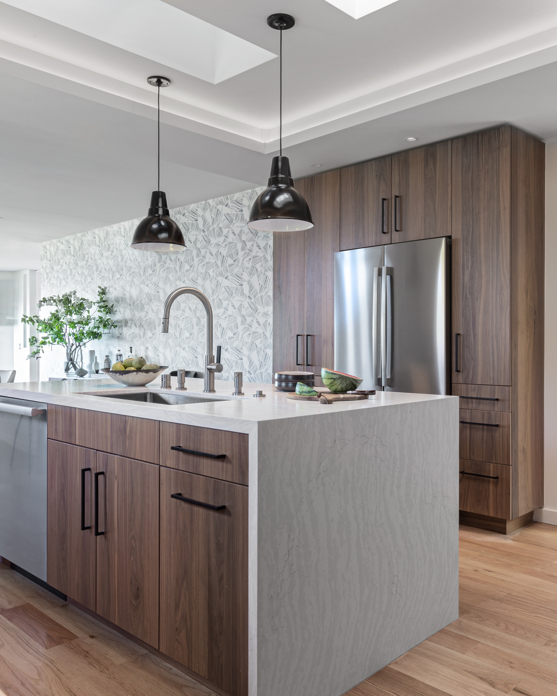 Contemporary Kitchen with Walnut Cabinetry and Quartz Countertops by Florence Livingston Interiors