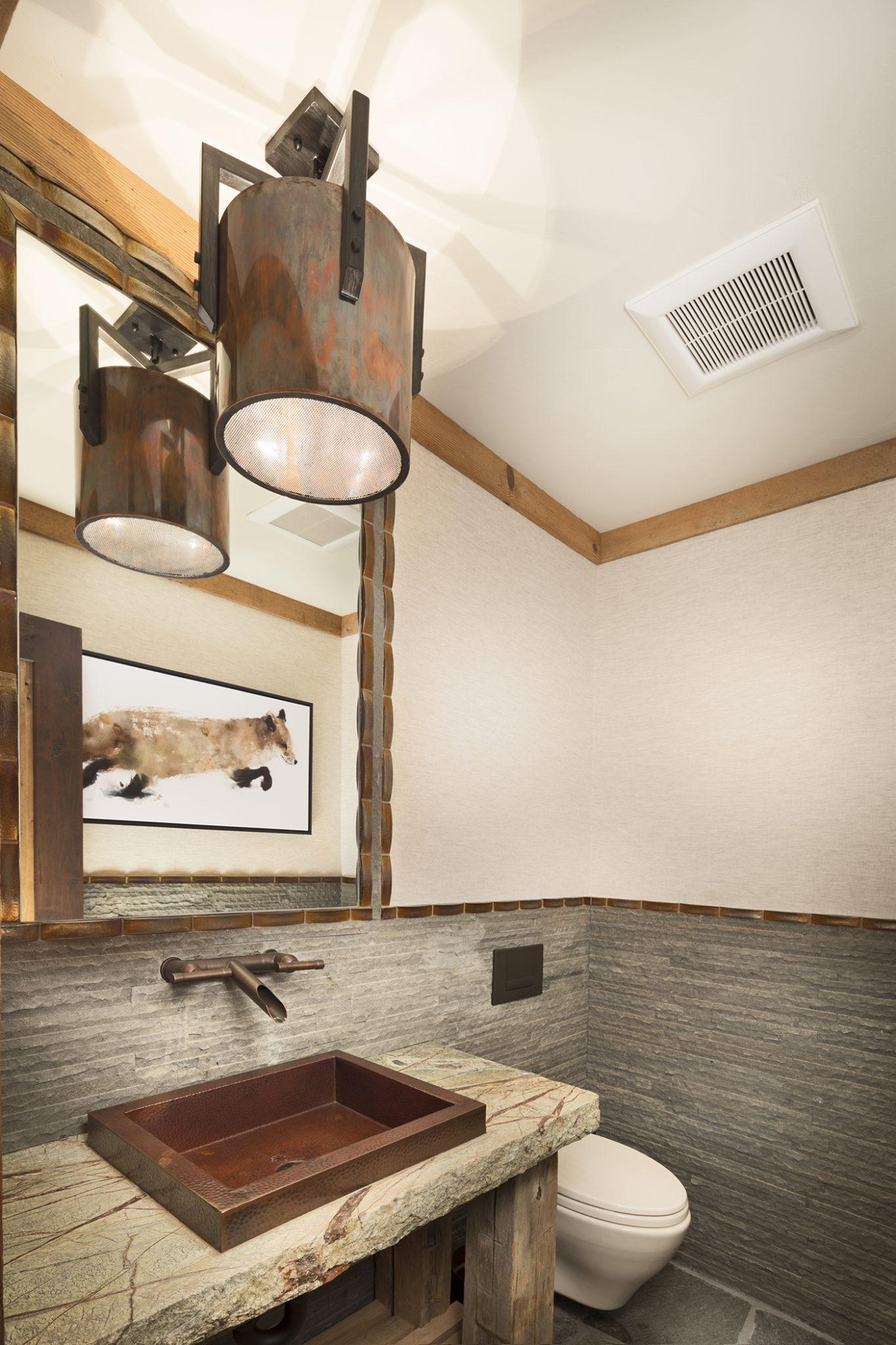 Rustic Family Lodge, Lake Tahoe, vanity slab countertop, copper sink and pendant by Aspen Leaf Interiors, Inc.
