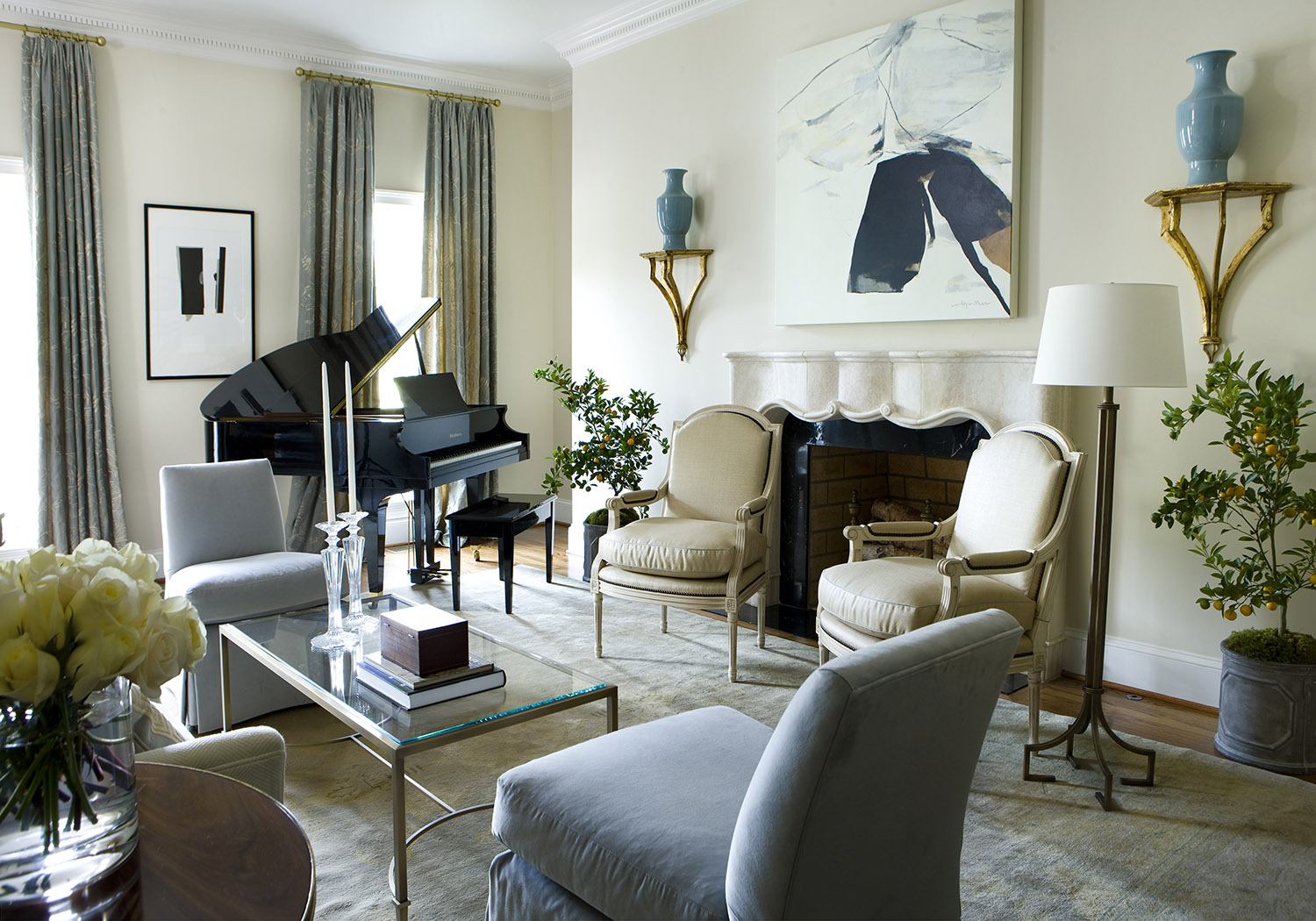 Residence featuring an interesting mix of neutrals by Robert Brown Interior Design